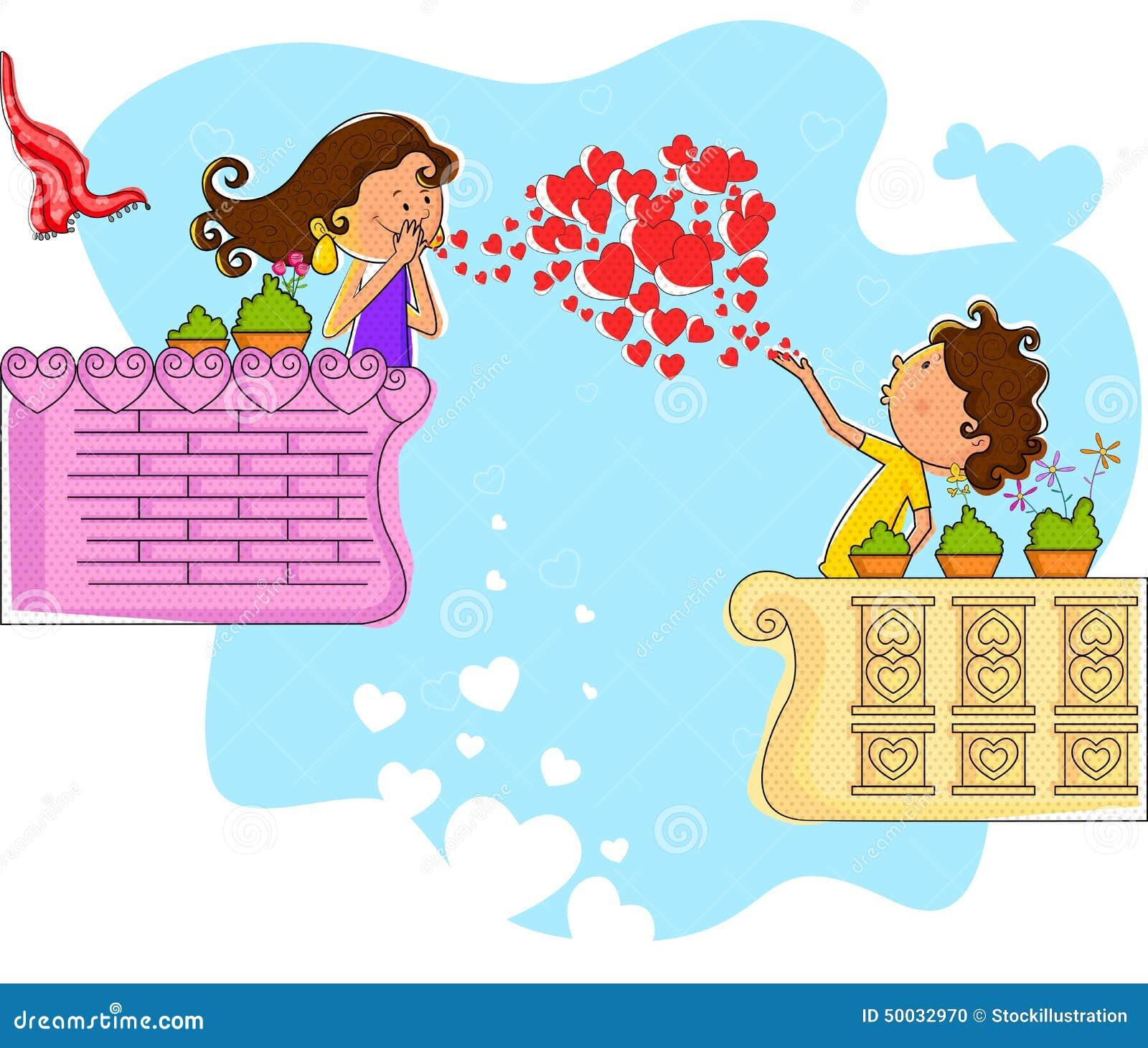Schlagherz Der Liebespaare Im Balkon Vektor Abbildung Illustration