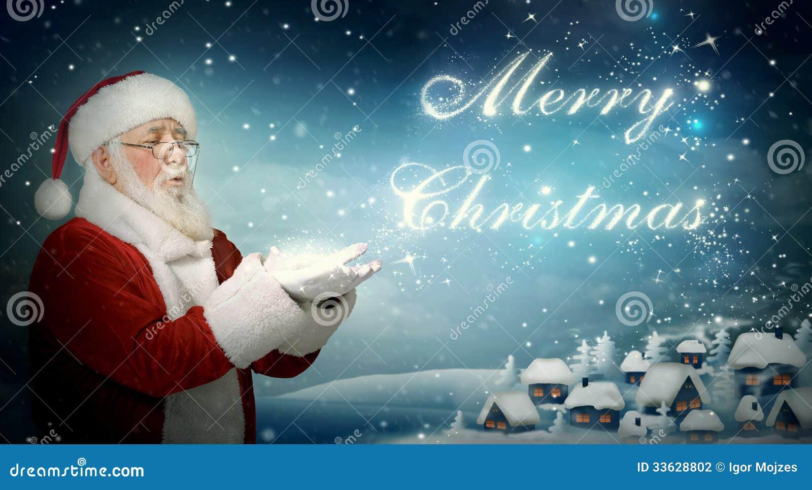 """Schlagschnee """"frohe Weihnachten"""" Santa Clauss"""