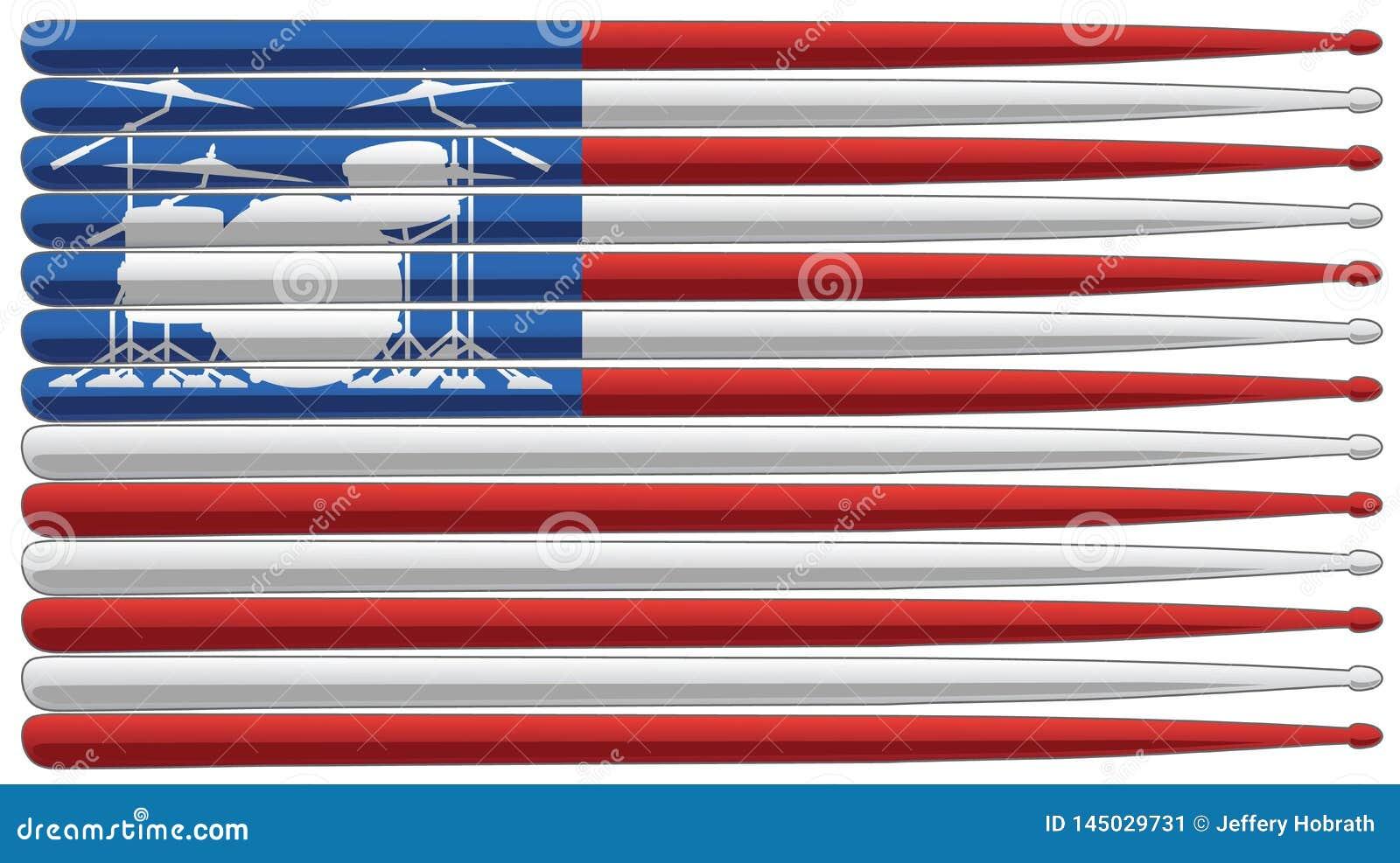 Schlagzeugerflagge mit Trommelsatz und Trommel haftet lokalisierte Vektorillustration