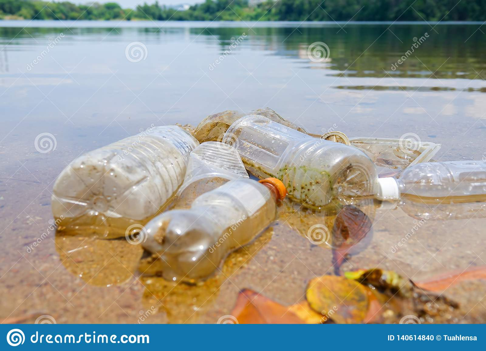 Schlechte Klimagewohnheit der unsachgemäßen Beseitigung nicht-biologisch abbaubarer PVCschalen und -flaschen in einem See Selekti
