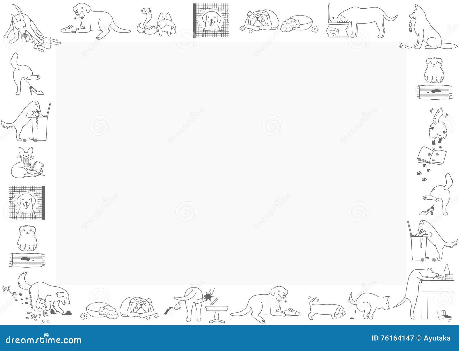 Schlechter Hunderahmen vektor abbildung. Illustration von hand ...