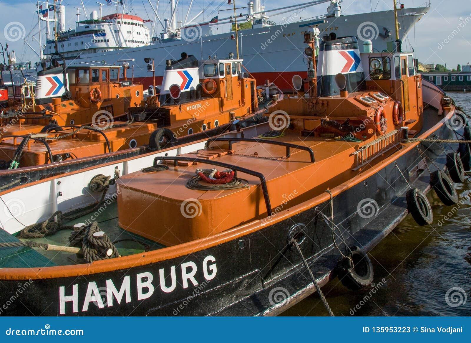 Schlepper tractor boat in Hamburg harbor
