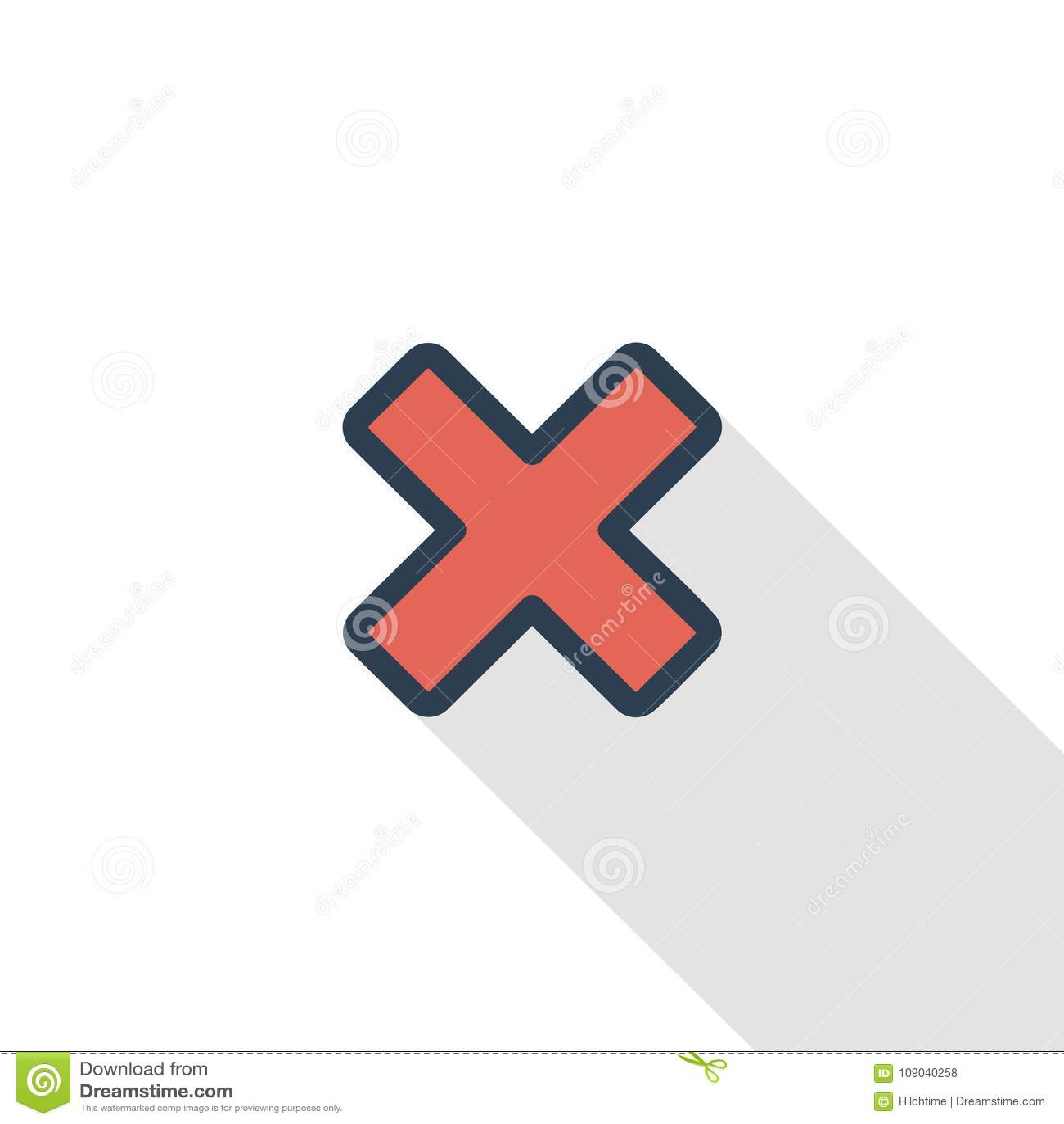 Schließen Sie, annullieren Sie, klare dünne Linie flache Farbikone Lineares Vektorsymbol Buntes langes Schattendesign
