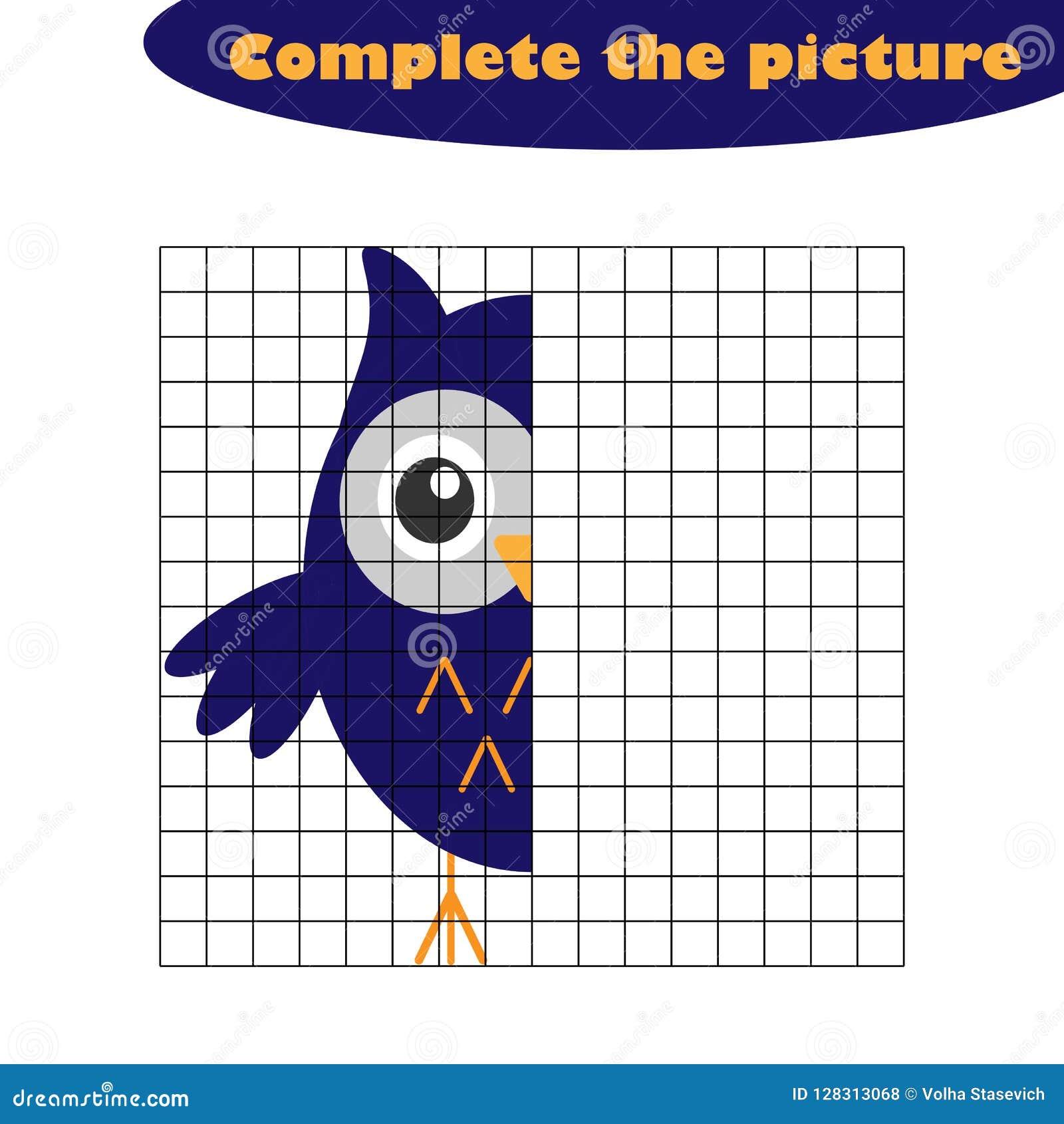 Schließen Sie das Bild, Eule in der Karikaturart, zeichnendes Fähigkeitstraining, pädagogisches Papierspiel für die Entwicklung v