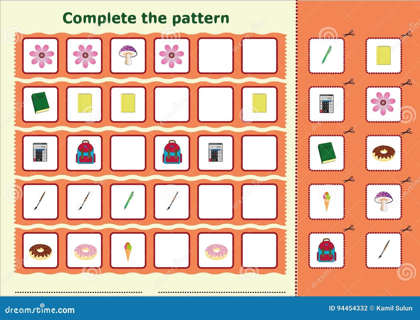 Schließen Sie Das Muster, Arbeitsblatt Für Kinder Ab Stock Abbildung ...