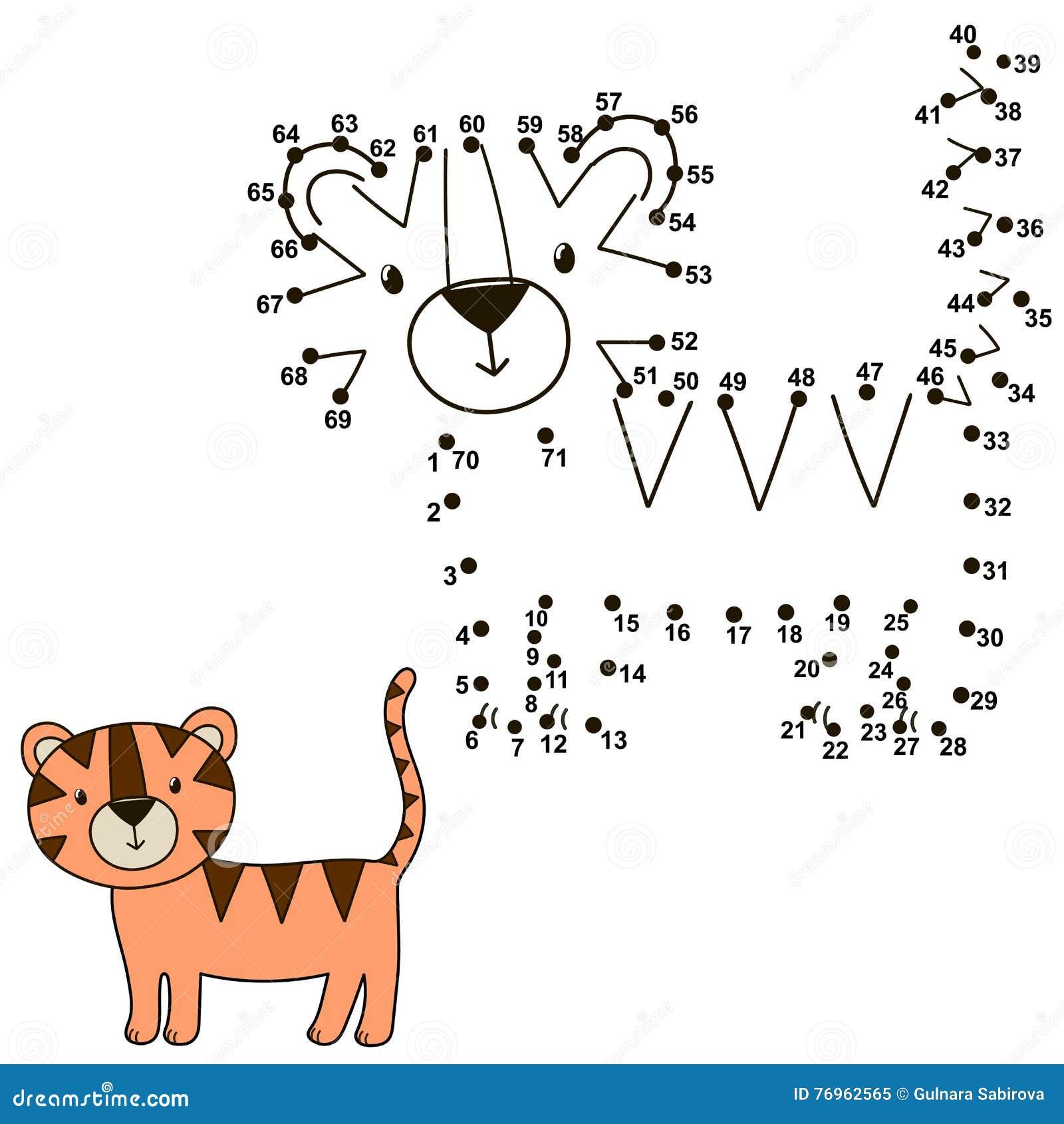 Schließen Sie Die Punkte An Um Einen Netten Tiger Zu Zeichnen Und