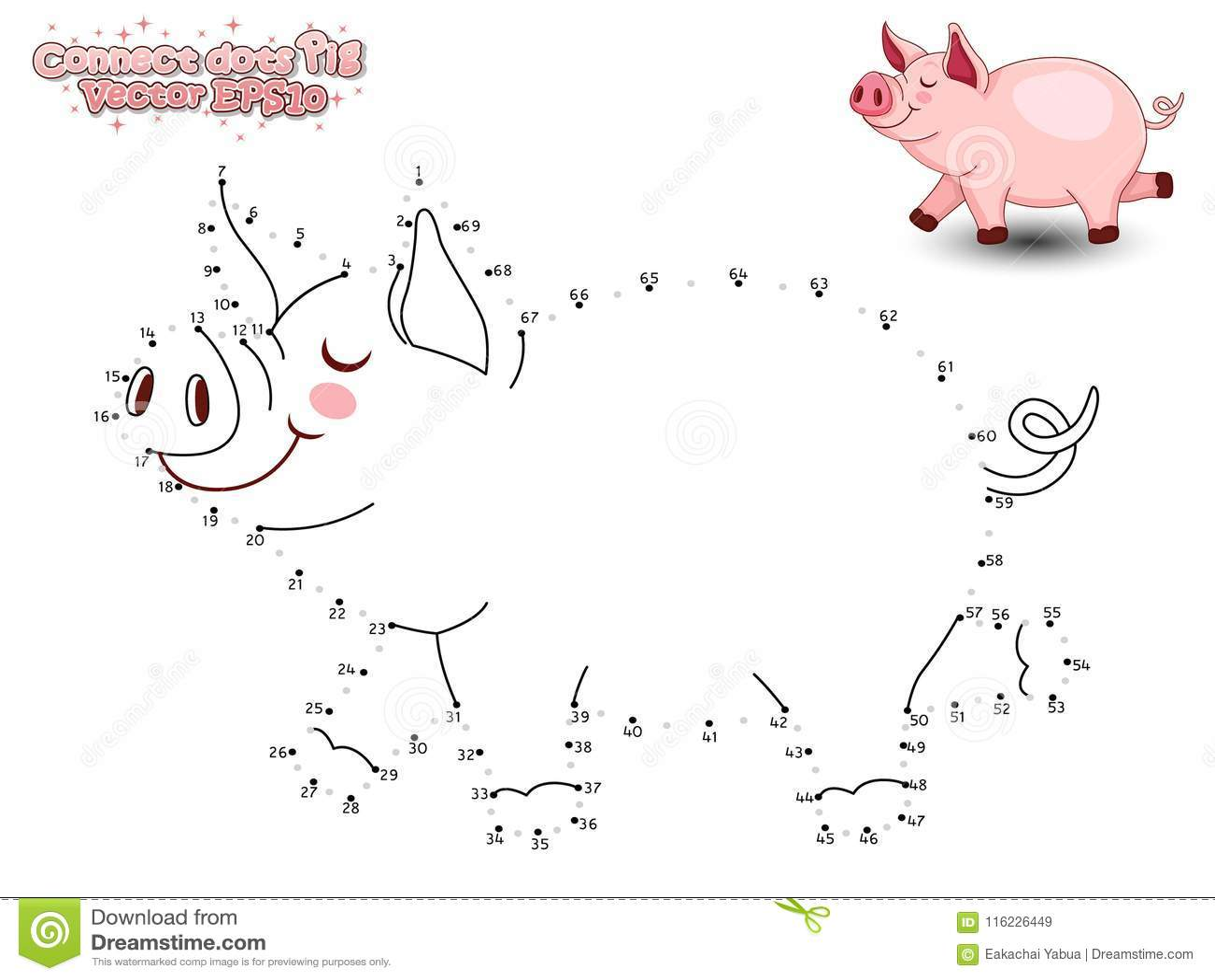 Schließen Sie Dots Draw Cute Cartoon Pig an und färben Sie Pädagogisches GA