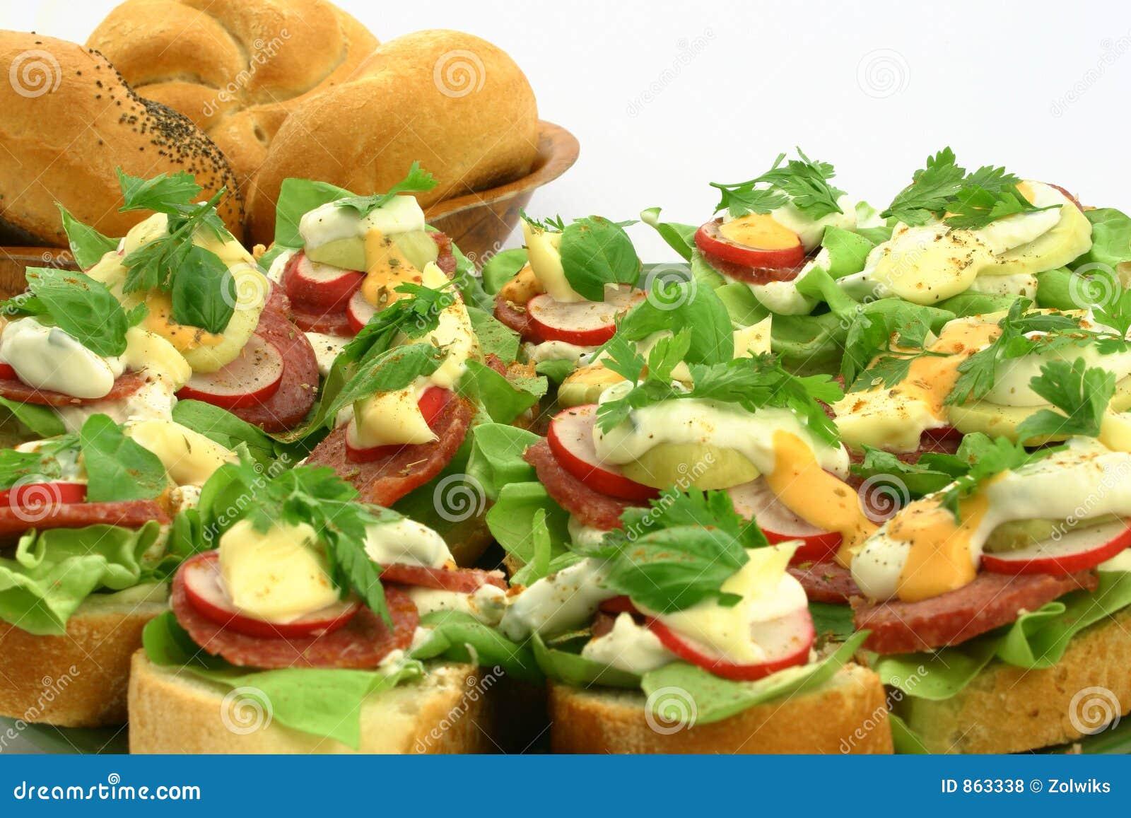 Schließen Sie oben an den frischen Sandwichen