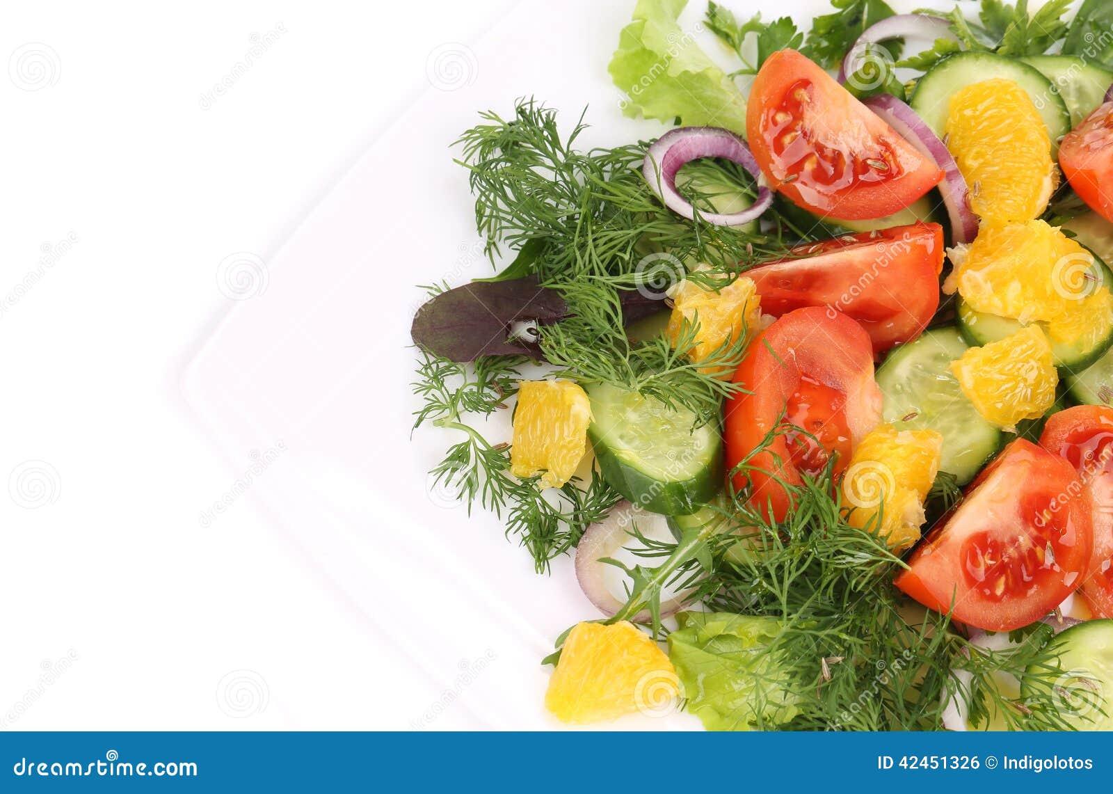 Schließen Sie oben vom frischen Salat