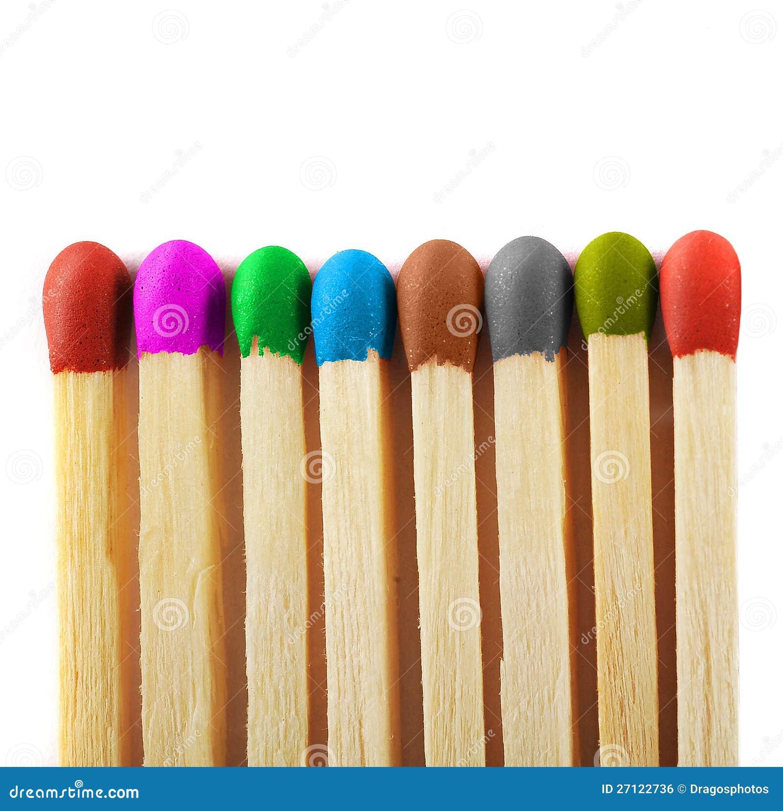 Schließen Sie oben von den Abgleichungen der verschiedenen Farben