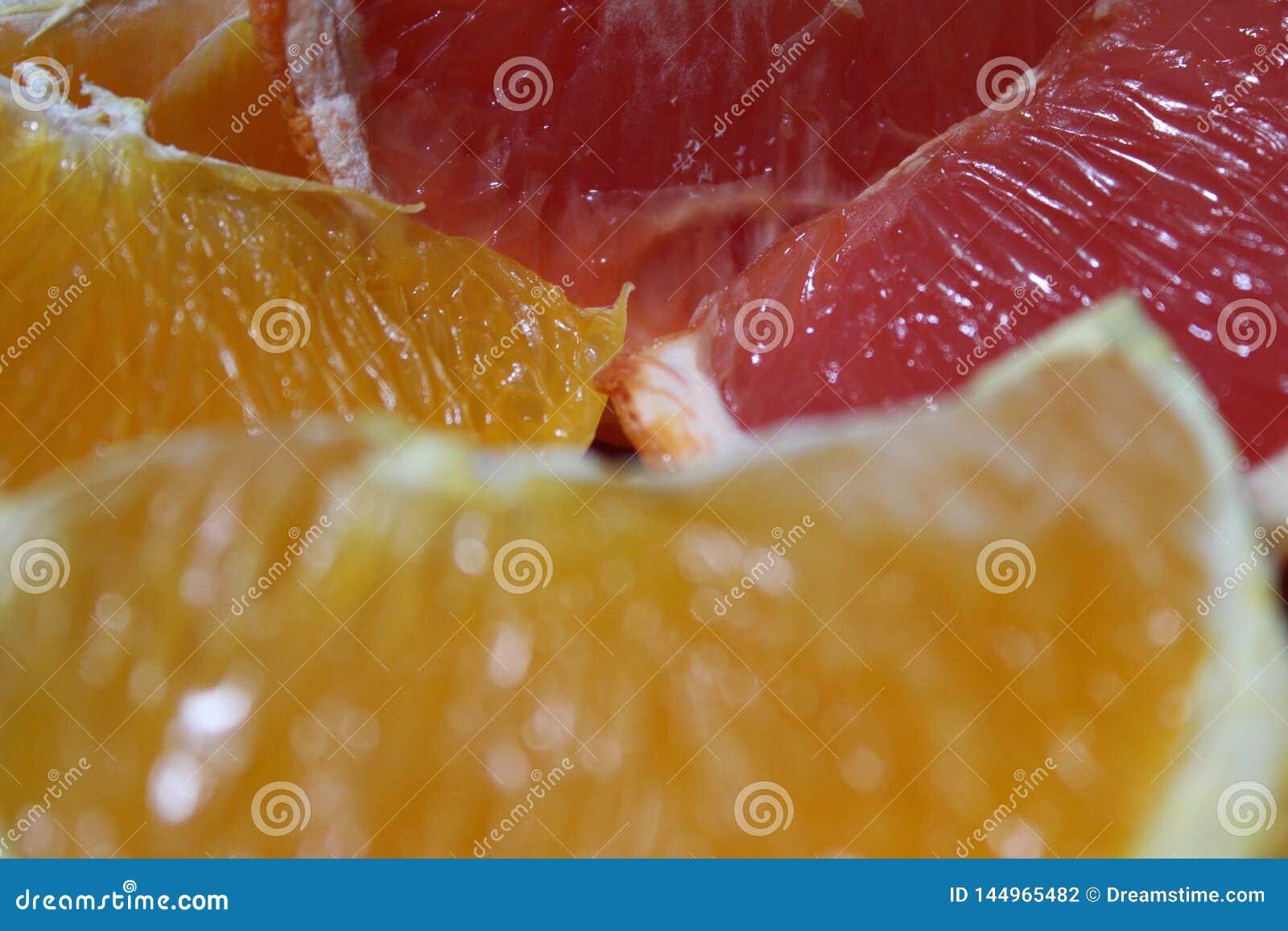 Schließen Sie oben von den Orangen und von der Pampelmuse