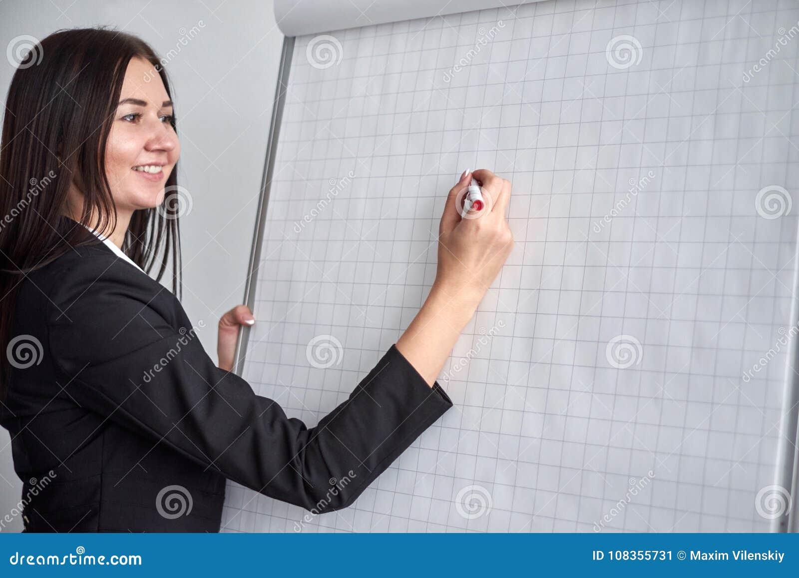 Schließen Sie oben von der Frau mit Markierungsschreiben oder -zeichnung etwas auf Flip-Chart