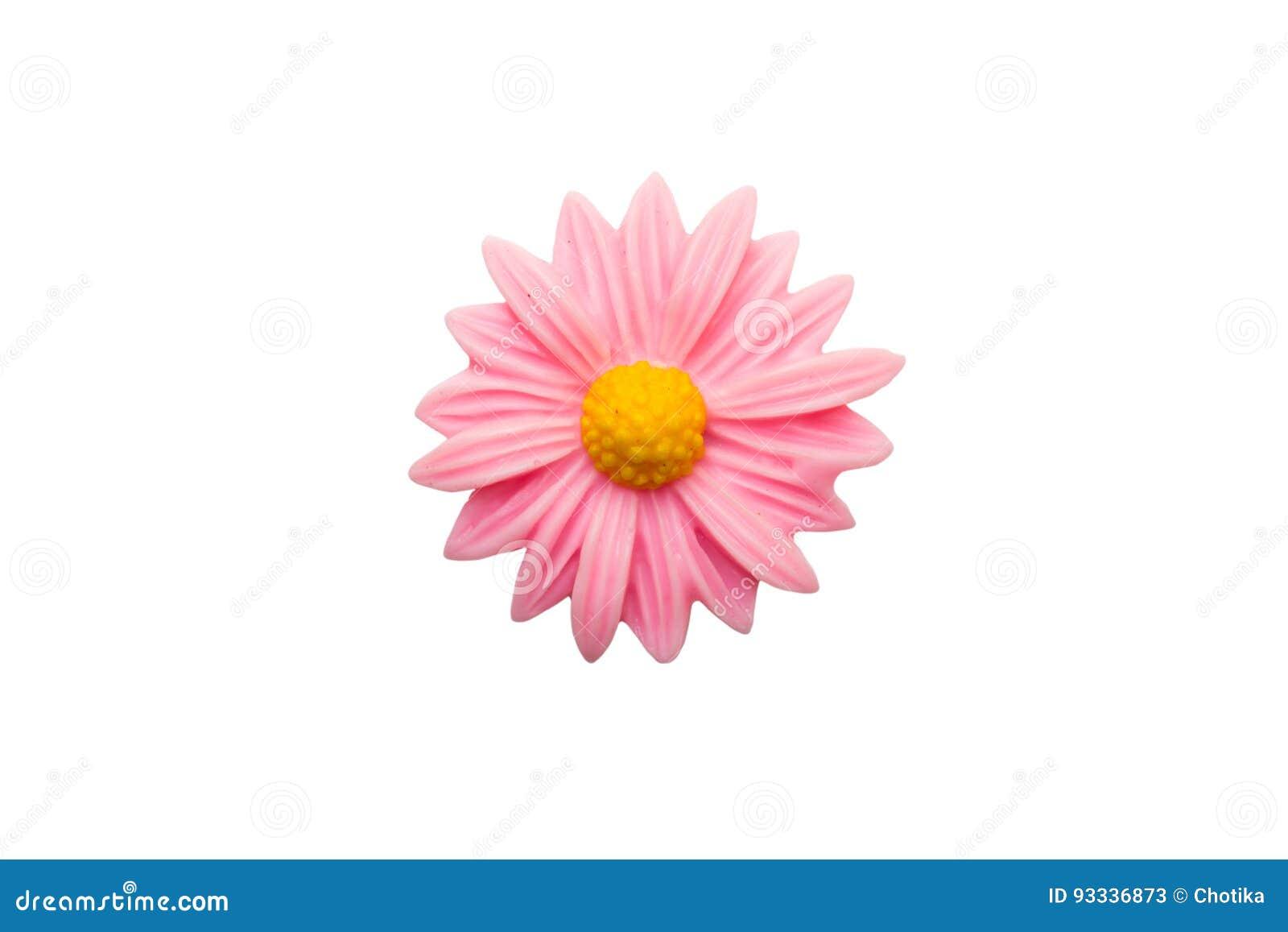 Schließen Sie oben von der rosa Plastikblume