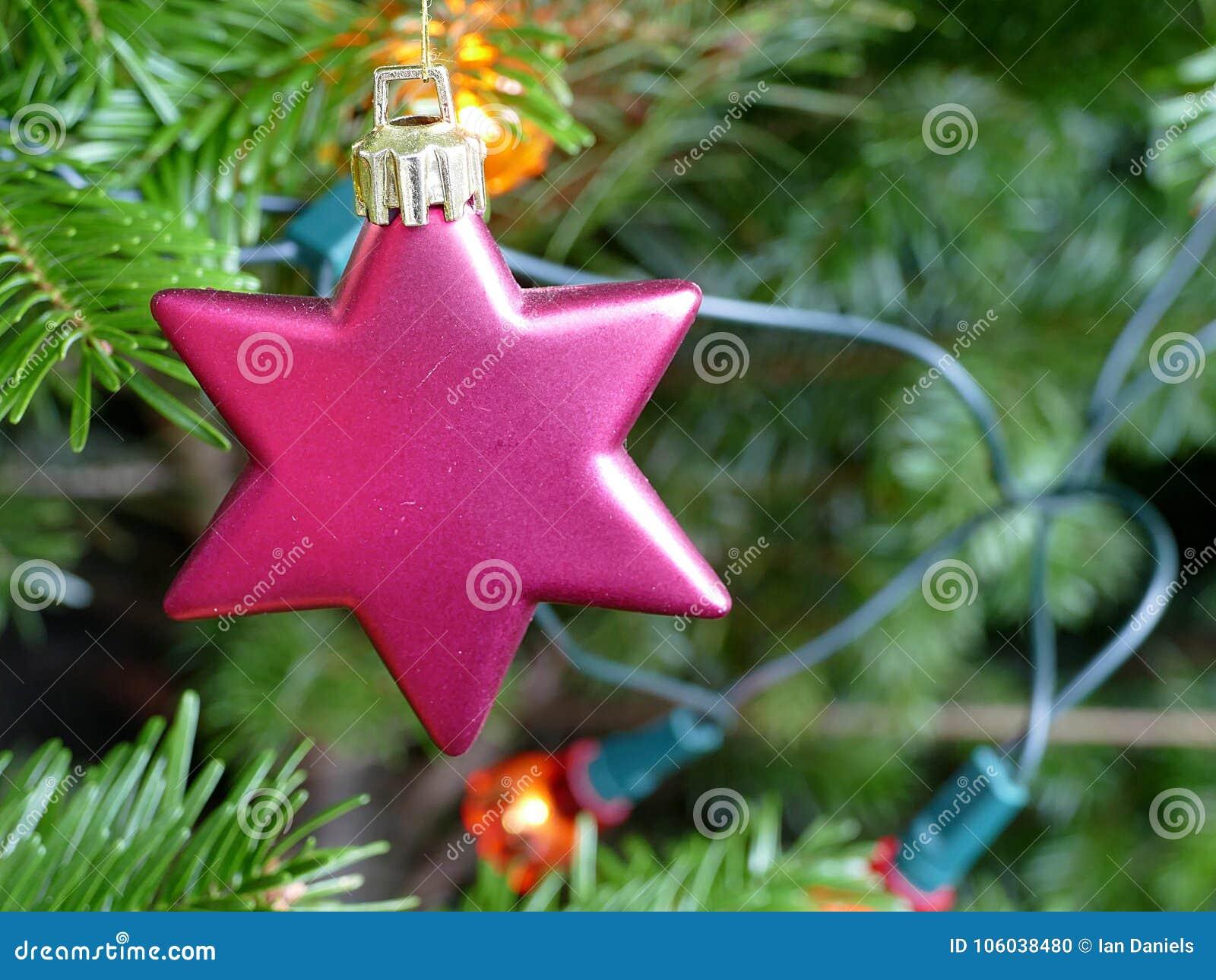 Schließen Sie oben von einer roten Sterndekoration auf einem Weihnachtsbaum
