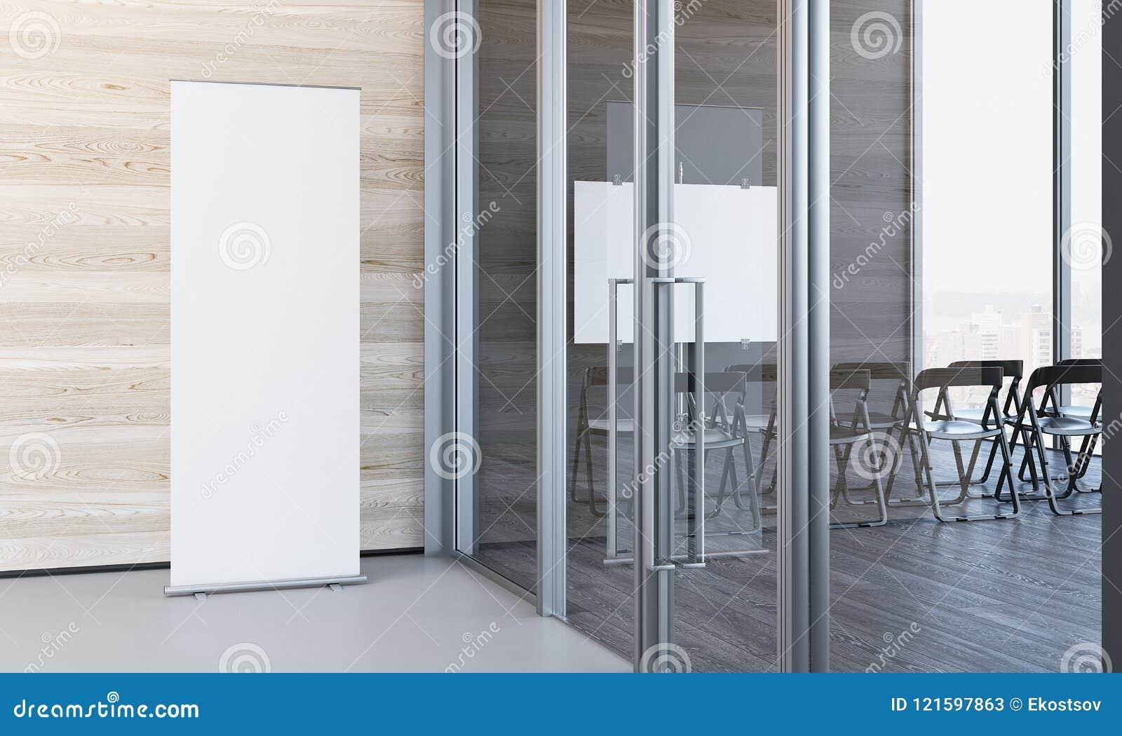 Schließen Sie oben von leerem weißem rollen oben im modernen Büro mit hölzernen Wänden, Wiedergabe 3d