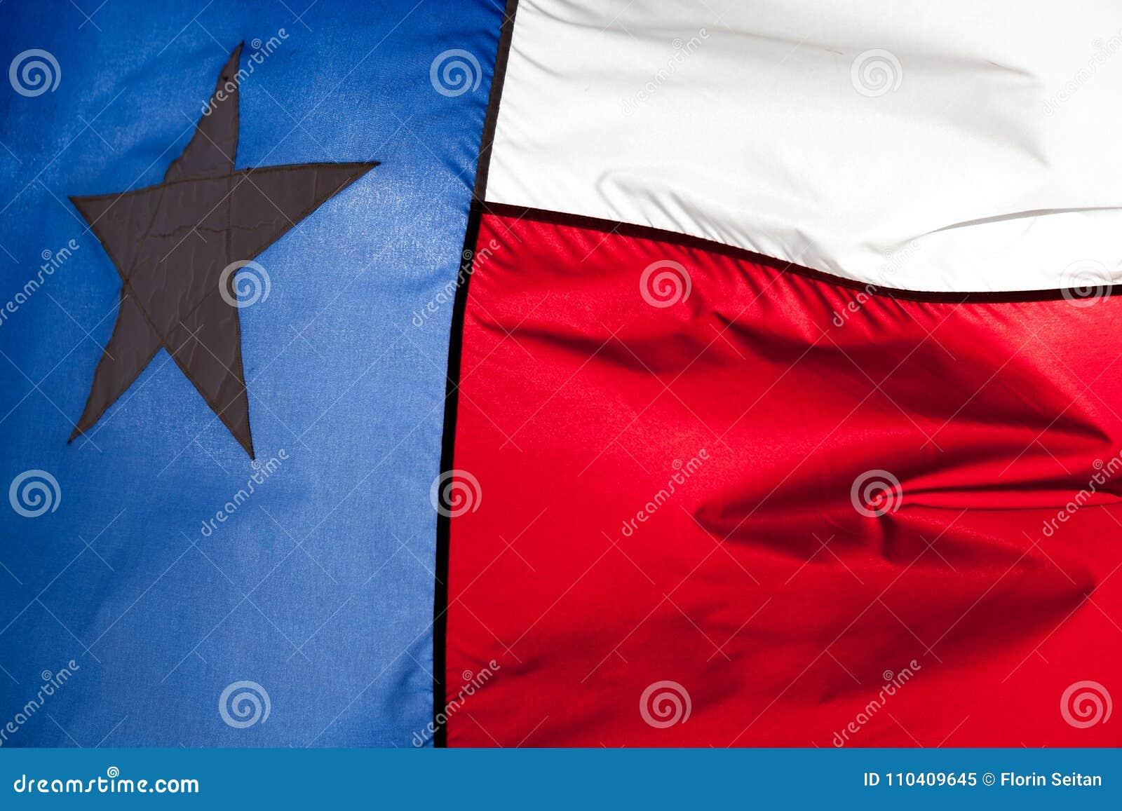 Schließen Sie oben von Texas, das im Wind fahnenschwenkend ist