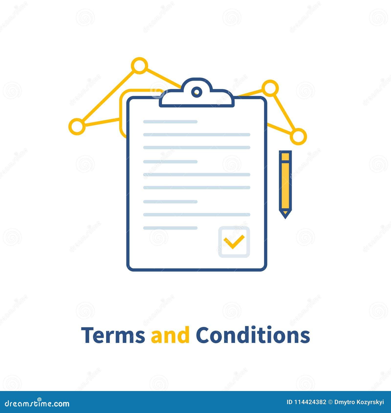 Schließen Sie Vertrag Allgemeinen Geschäftsbedingungen