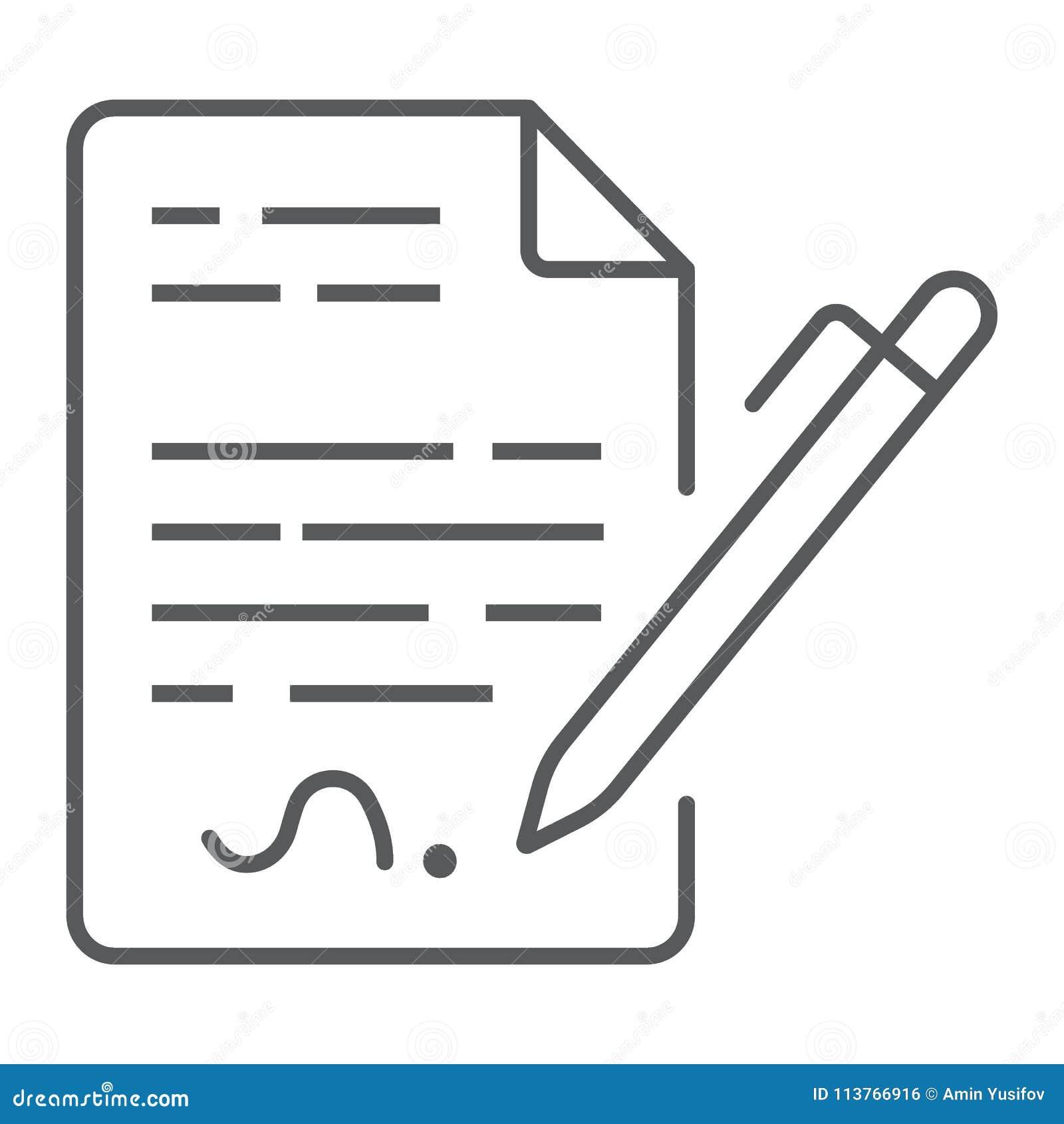 Schließen Sie Vertrag Dünnen Linie Ikone Vereinbarung Und