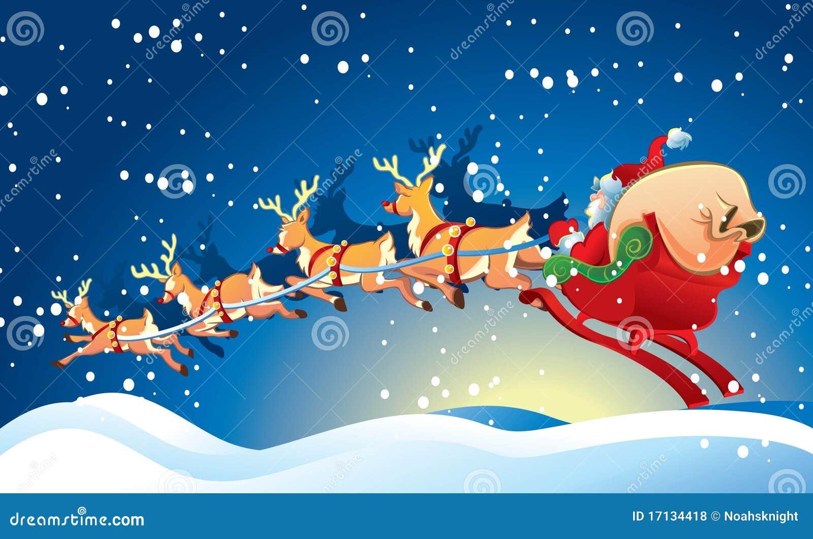 Schlitten Mit Weihnachtsmann Stock Abbildung - Illustration von ...