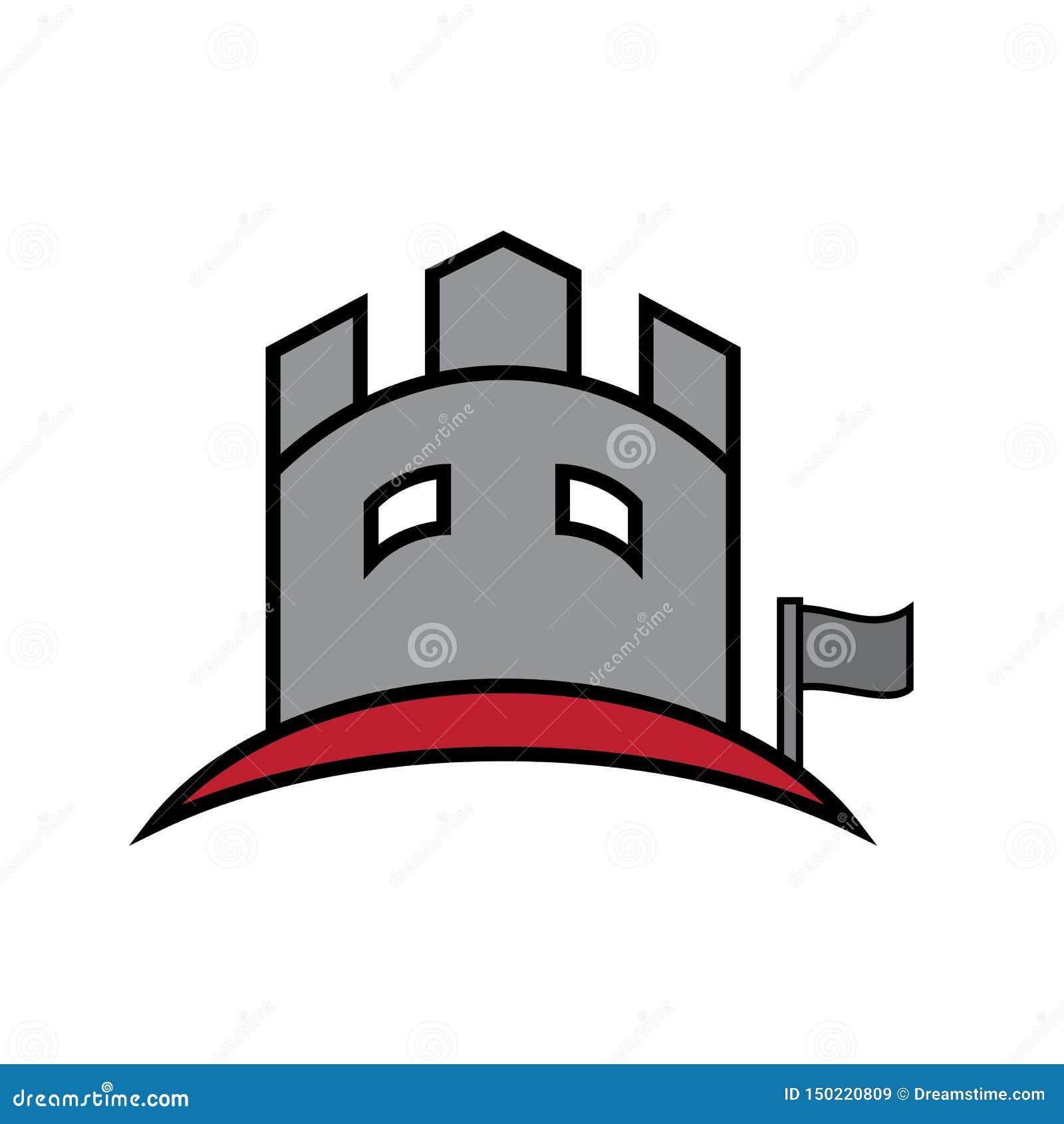 Schloss, das flachen Logovektor aufbaut