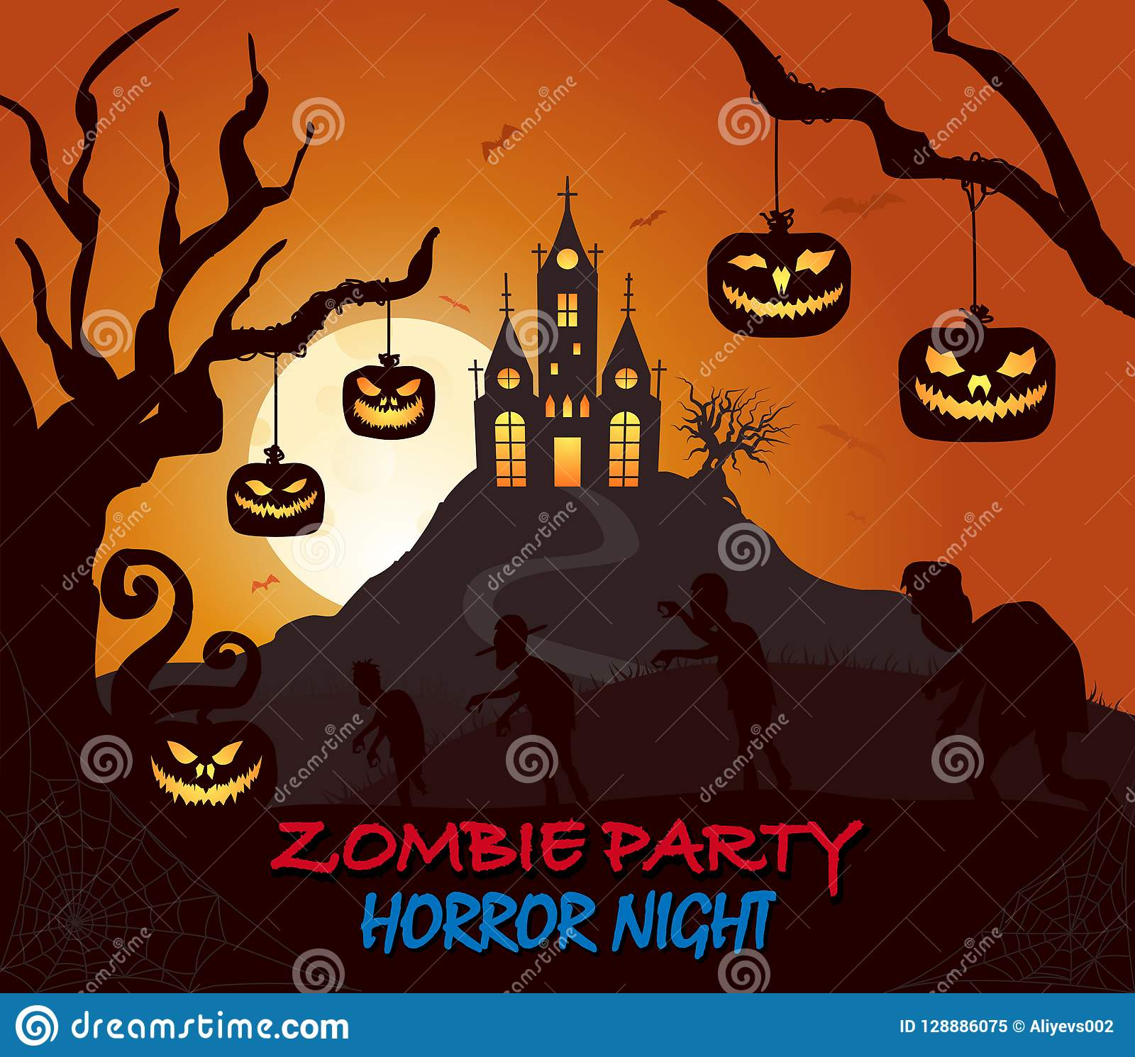 Schloss, Kürbis, Zombiehalloween-Schattenbild auf Dunkelheit färbte Plakat