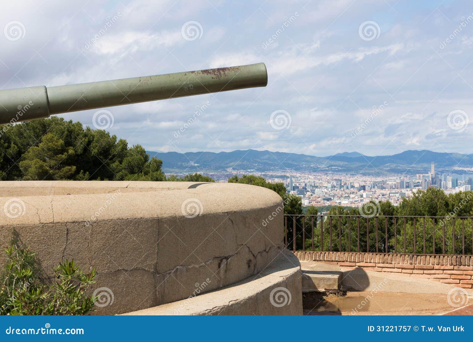 Schloss von Montjuic mit altem Kanon in Barcelona
