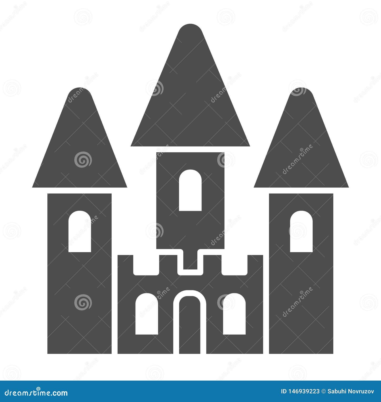 Schlossspielzeug-K?rperikone Babyspielzeug-Vektorillustration lokalisiert auf Wei? Kinderpalast Glyph-Artentwurf, bestimmt für Ne