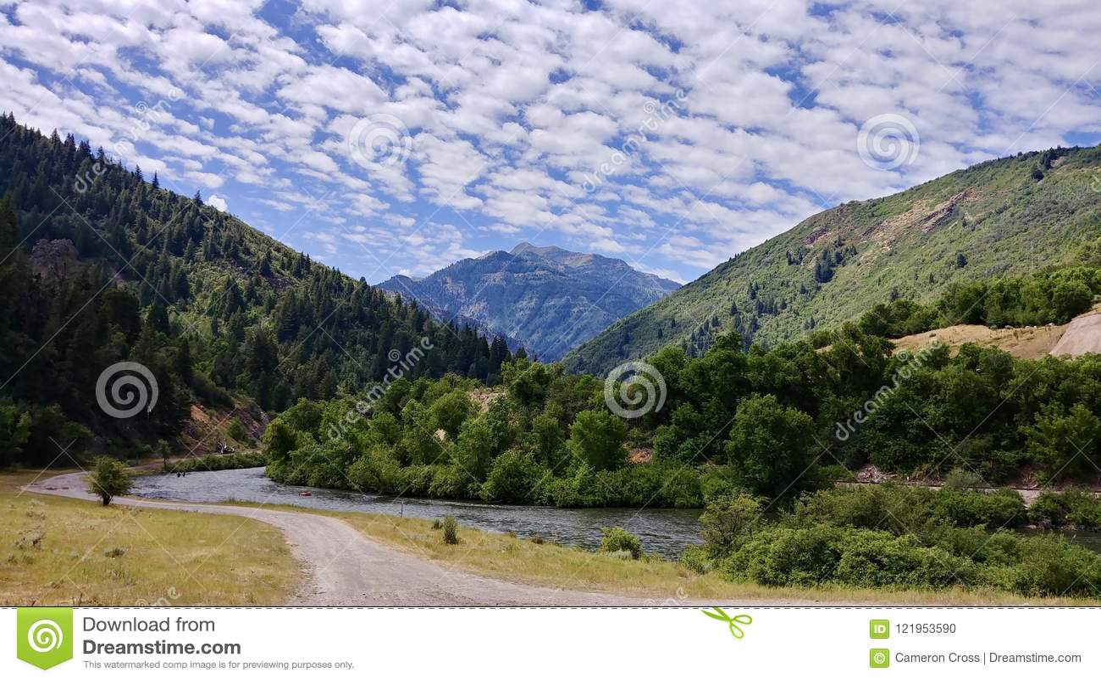 Schlucht und Fluss Provo Wasatch-Berge an der Mitte, Utah