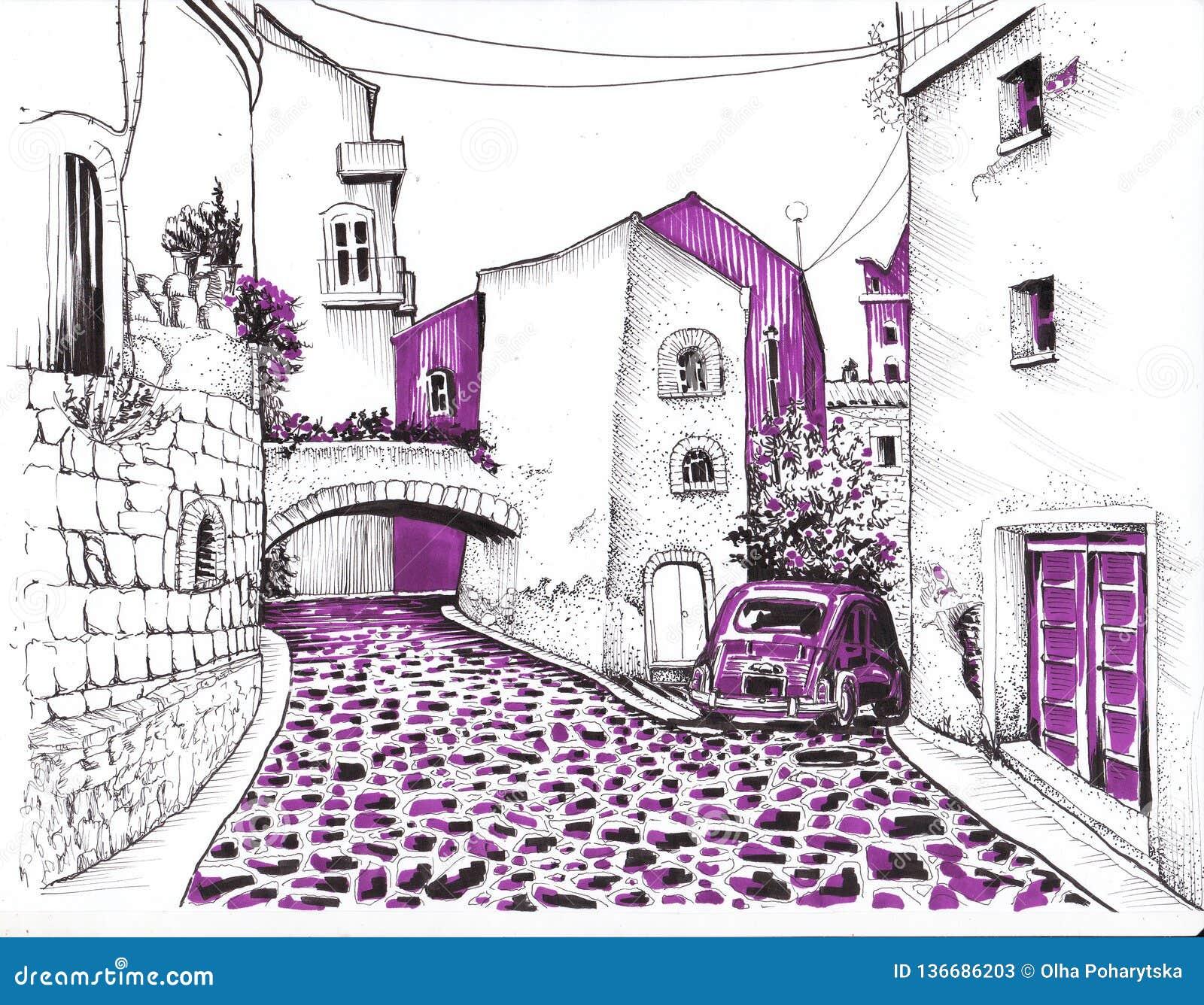 Schmale Straße mit einer Steinstraße skizze