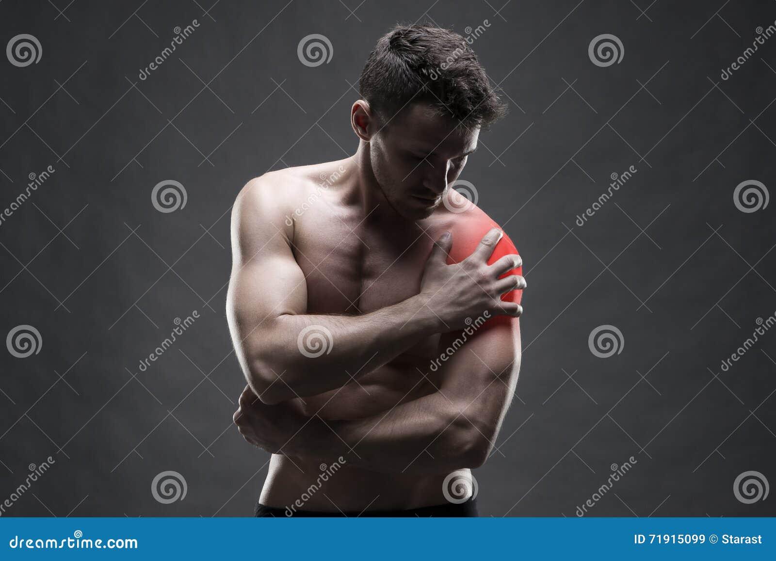 Schmerz In Der Schulter Muskulöse Männliche Karosserie Hübscher ...