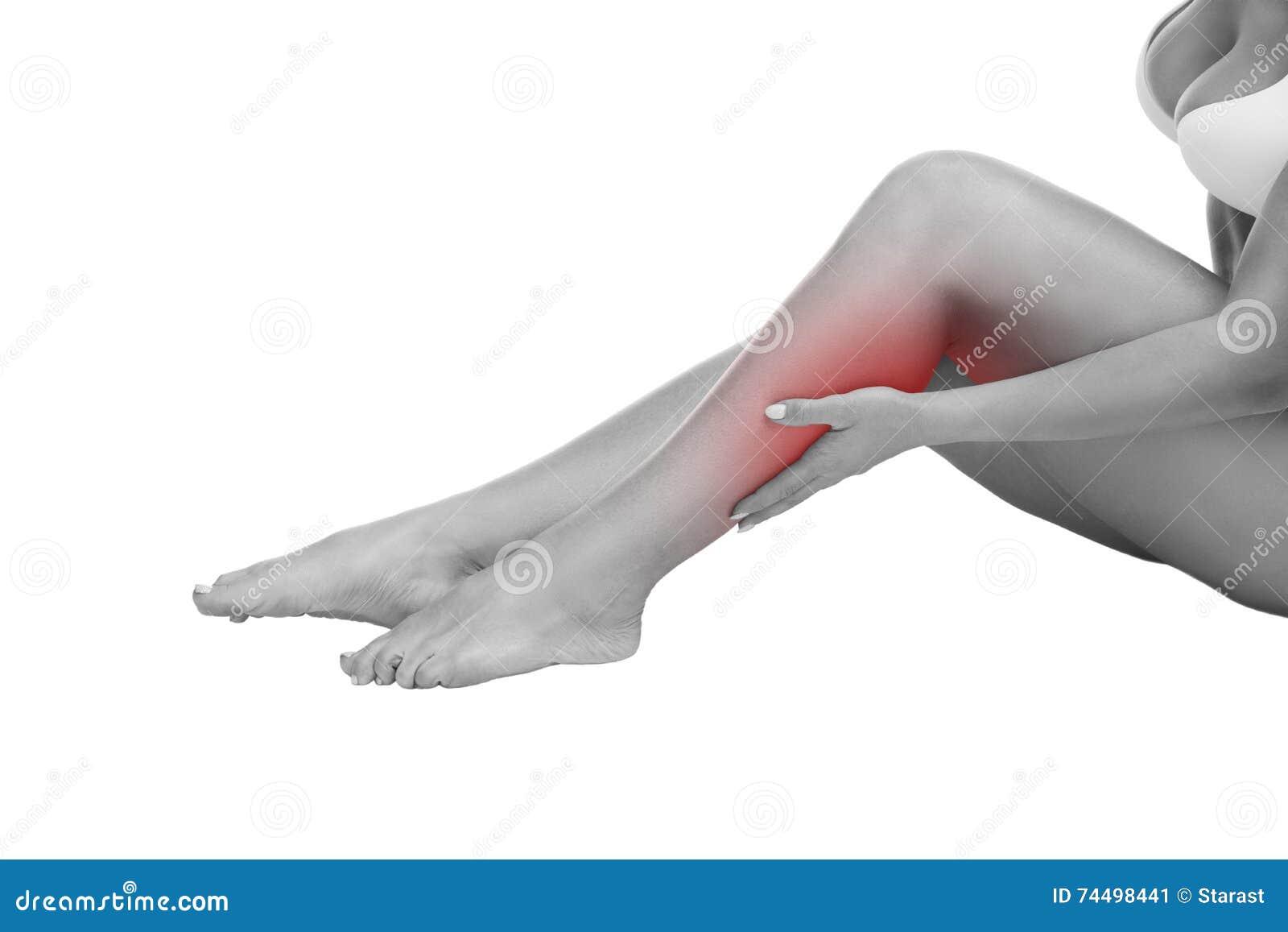 Schmerzen Sie Im Wadenmuskel Der Frau, Massage Von Weiblichen Füßen ...