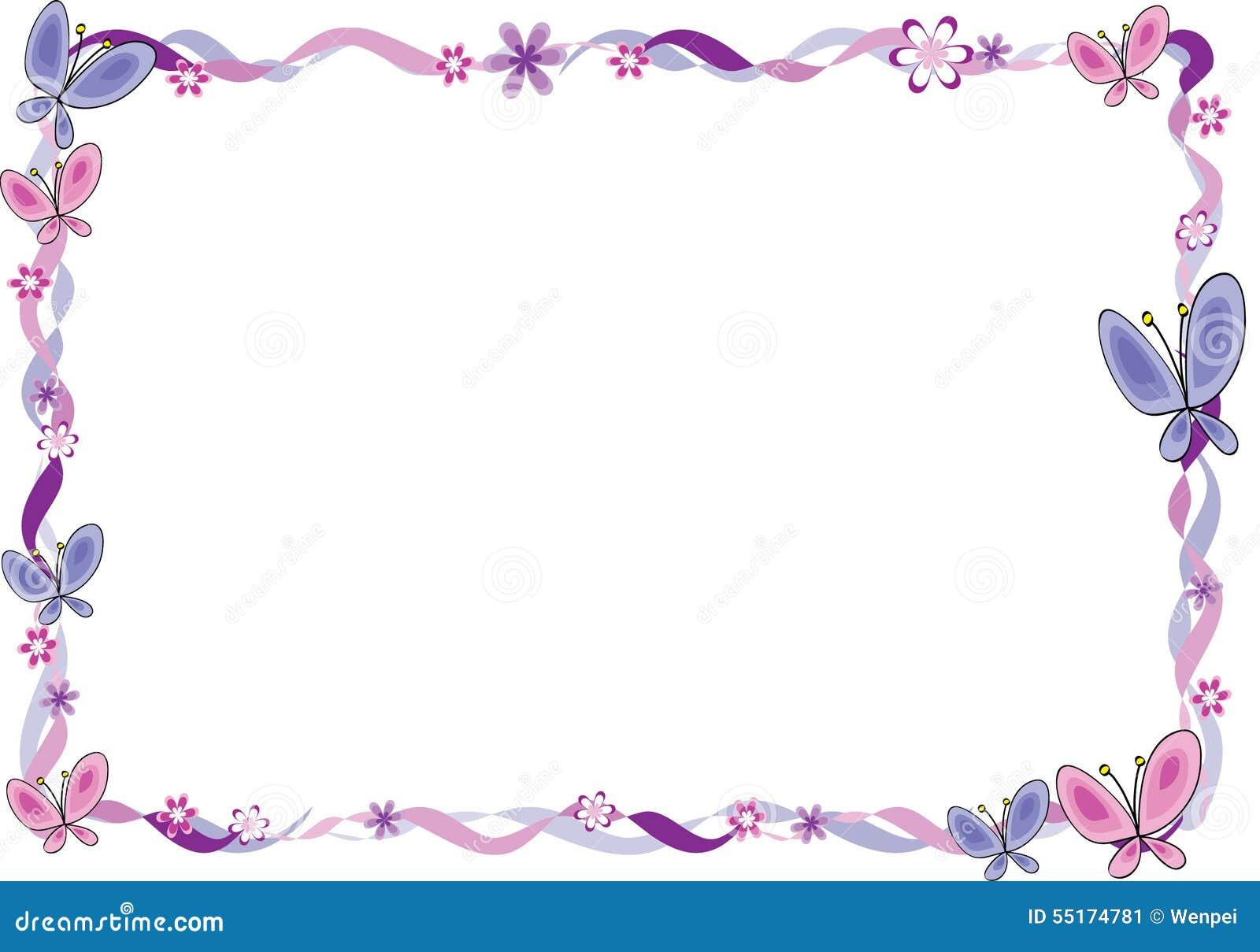Hintergrund Mit Rahmen Blumen Und Schmetterling Stock Illustrationen ...