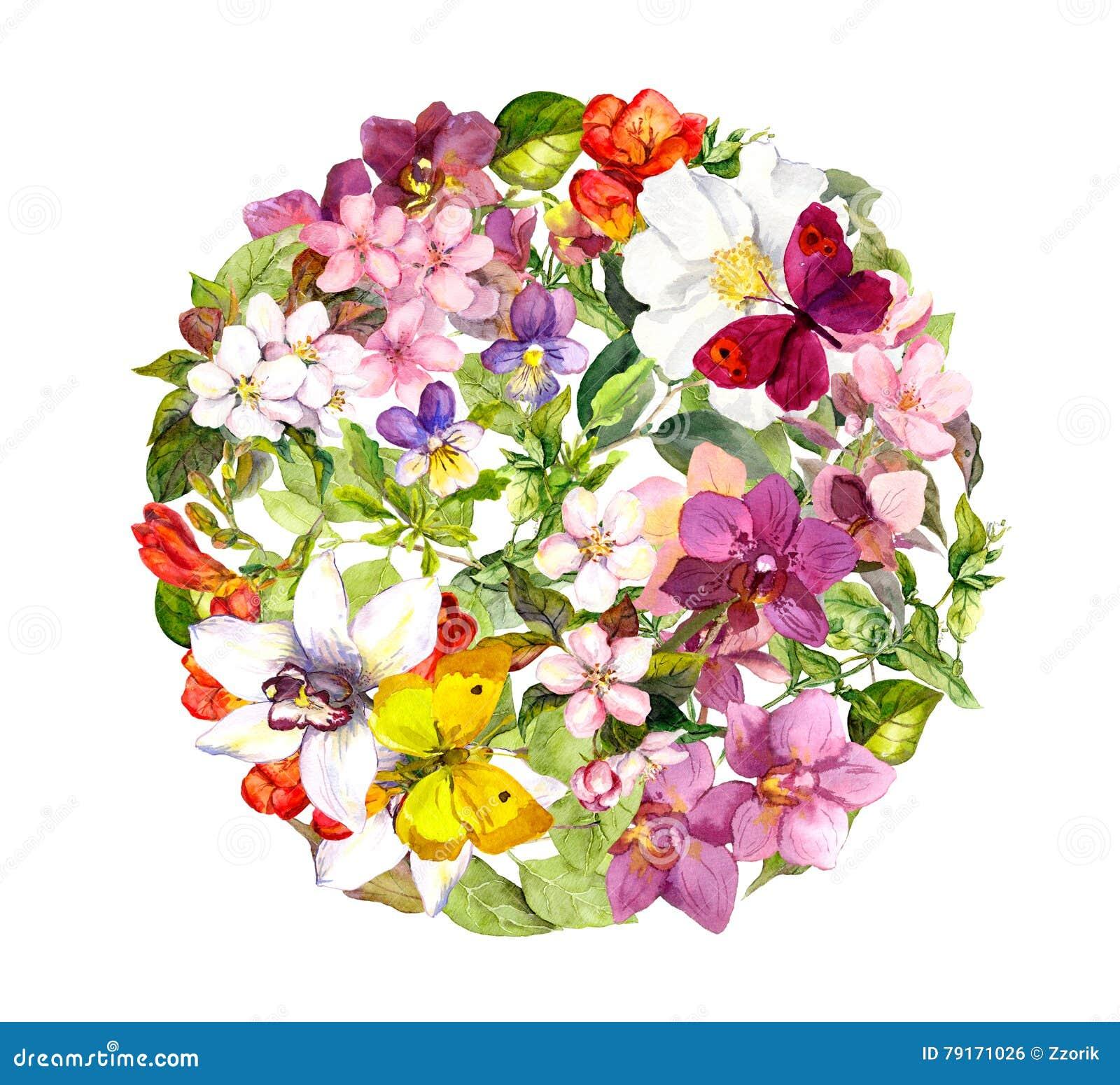 Schmetterlinge Und Blumen Rundes Blumenmuster Watercolour Stockfoto