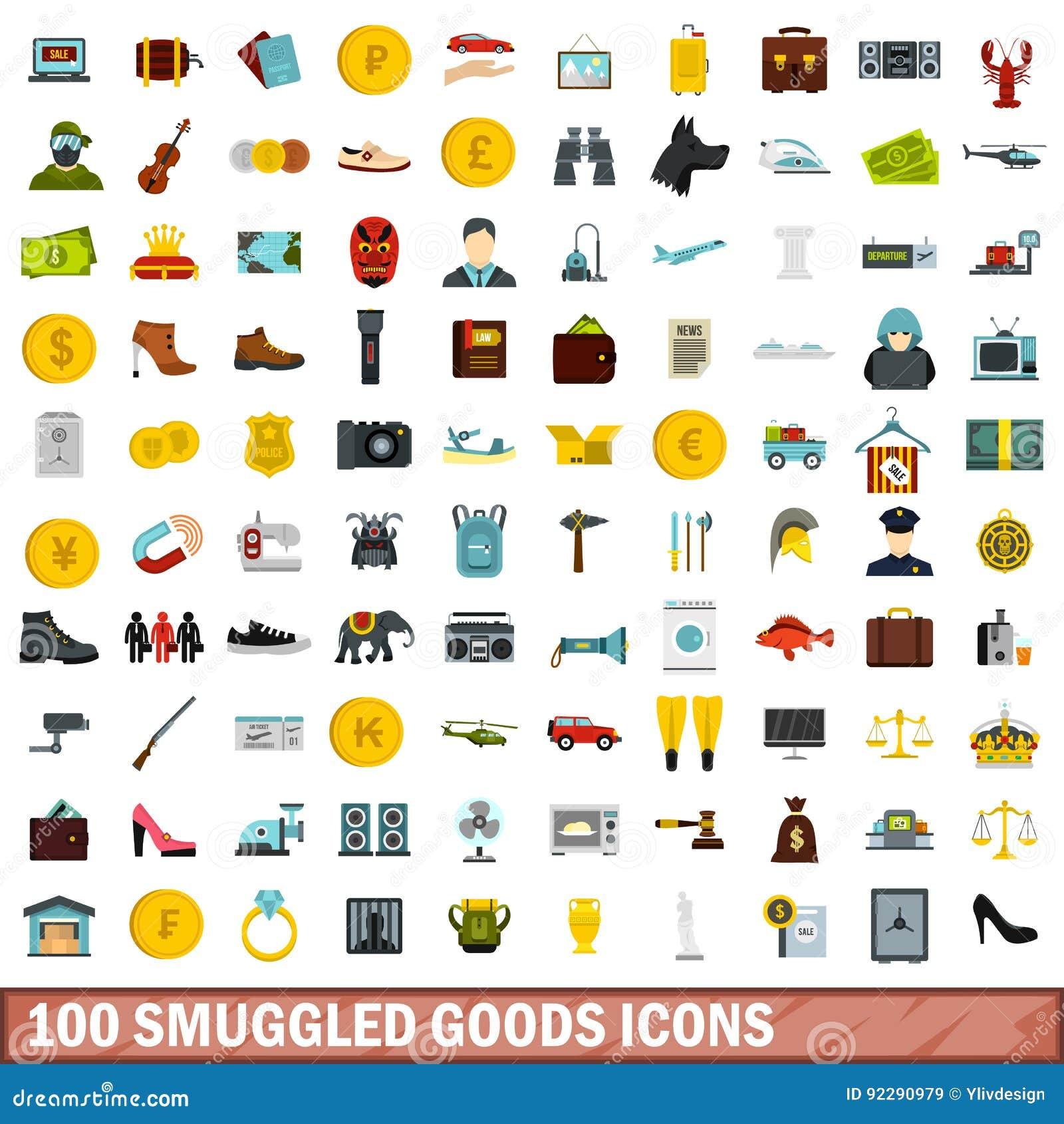 100 schmuggelten die eingestellten Warenikonen, flache Art