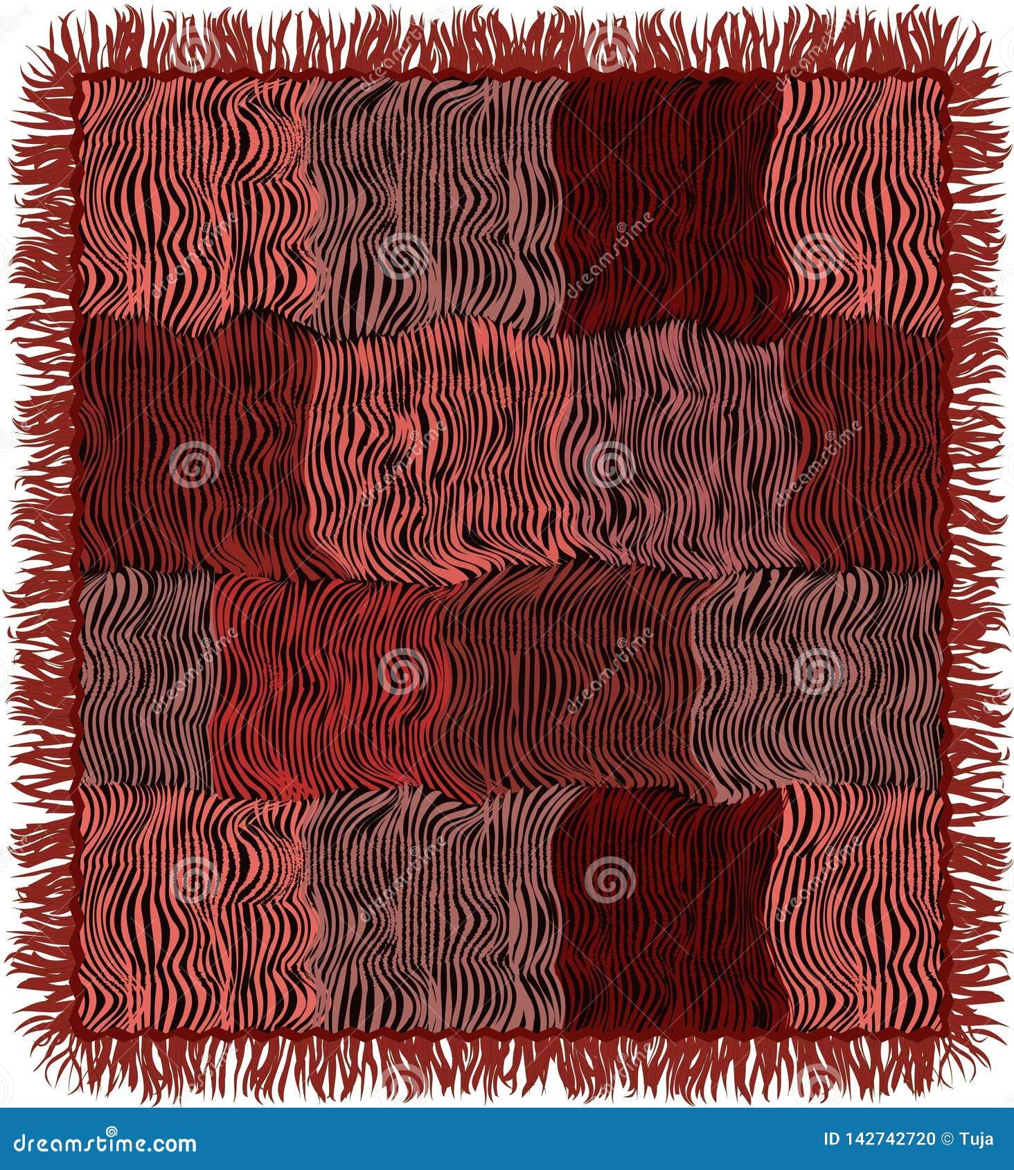 Schmutz streifte gesteppten Teppich mit Franse in den braunen, rosa, violetten, schwarzen Farben