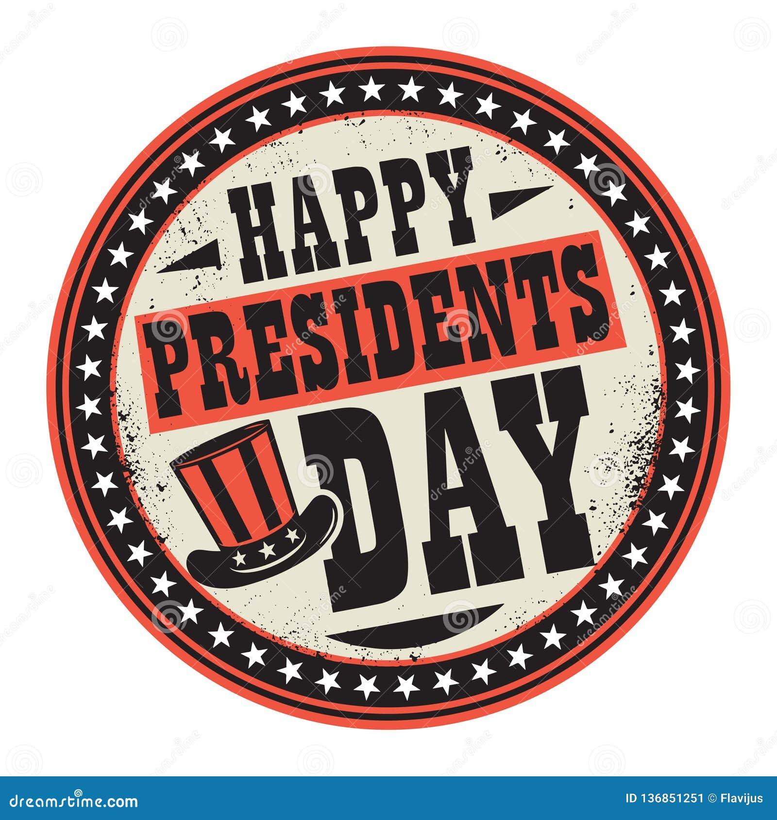 Schmutzfarbstempel mit Hut und Text glücklichen Präsidenten Day