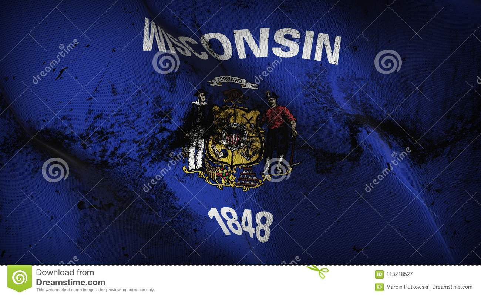 Schmutziges fahnenschwenkendes des Wisconsin-US-Staats-Schmutzes auf Wind