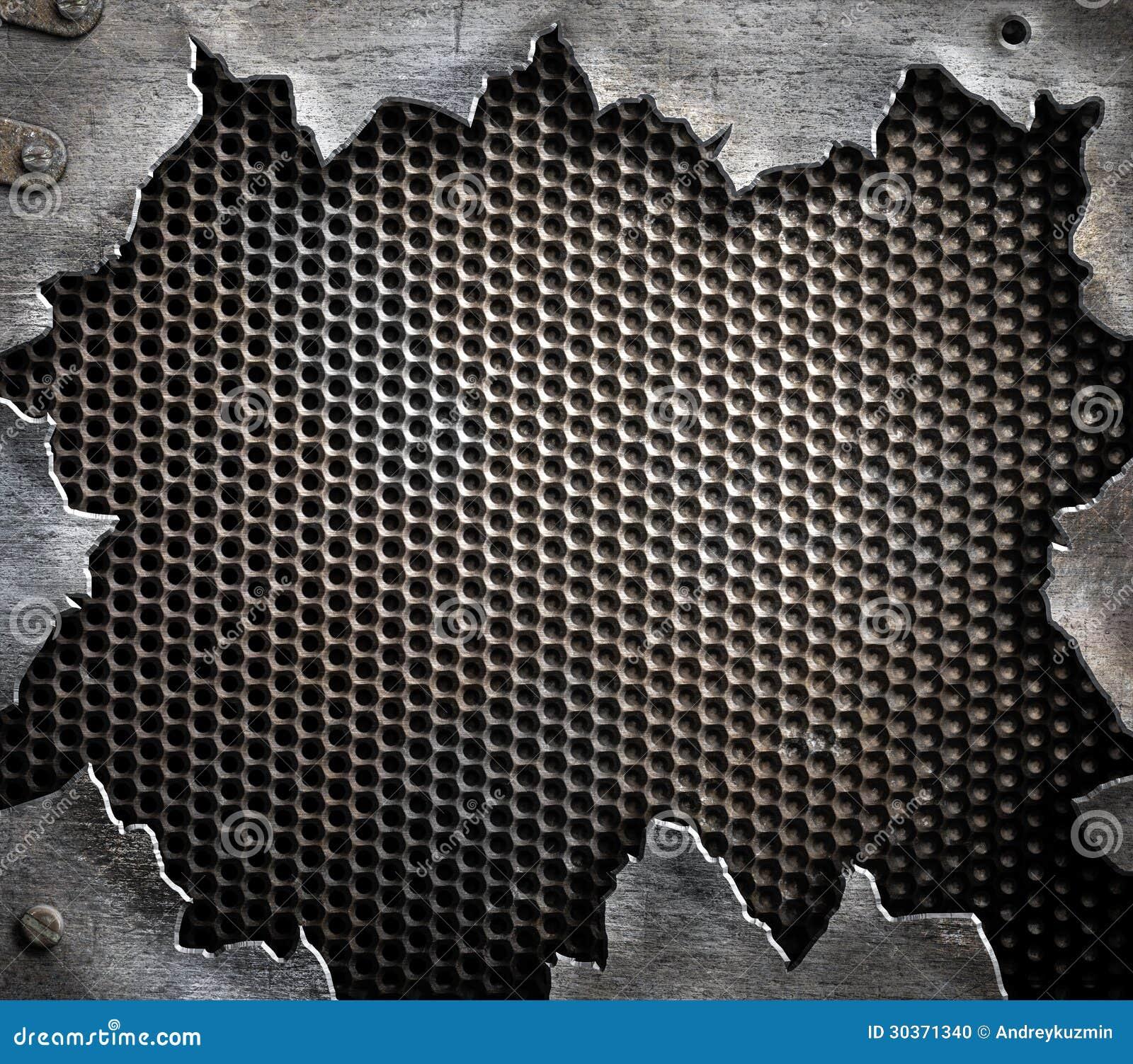 Schmutzmetallhintergrund mit heftigen Rändern