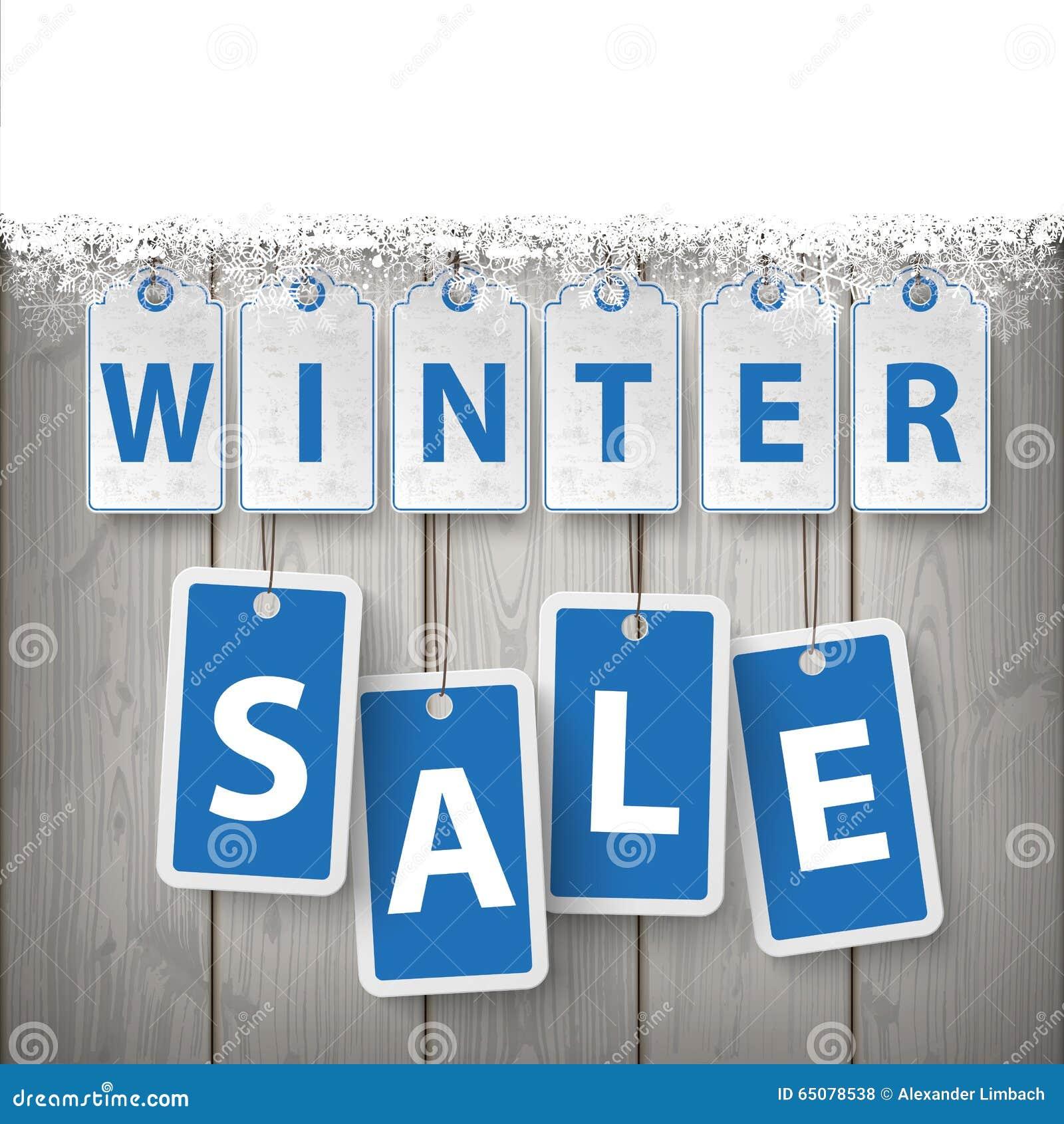 Schnee-hölzerner Latten-Winterschlussverkauf