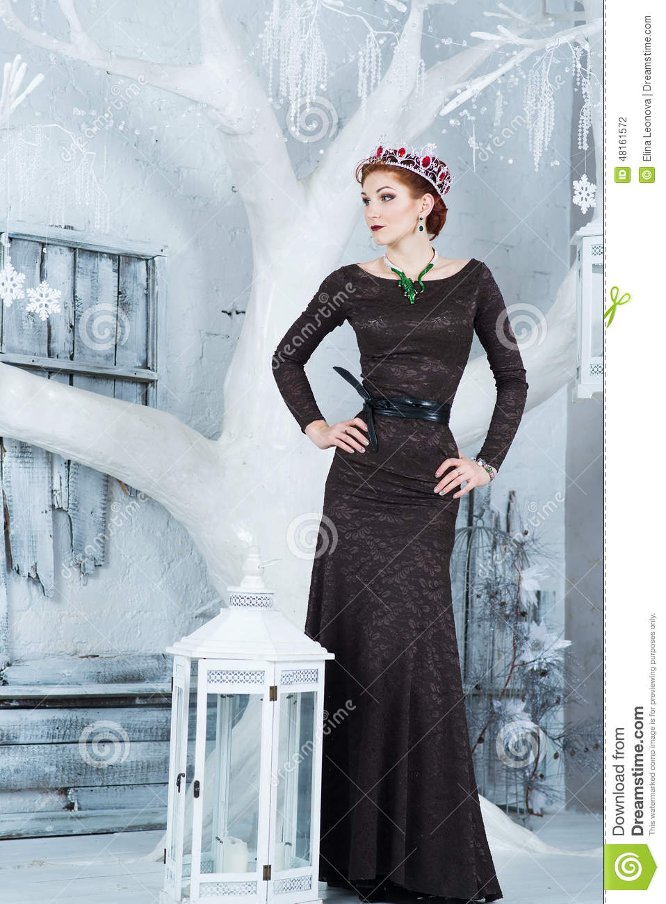 schnee k nigin dezember elegante frau im langen kleid. Black Bedroom Furniture Sets. Home Design Ideas