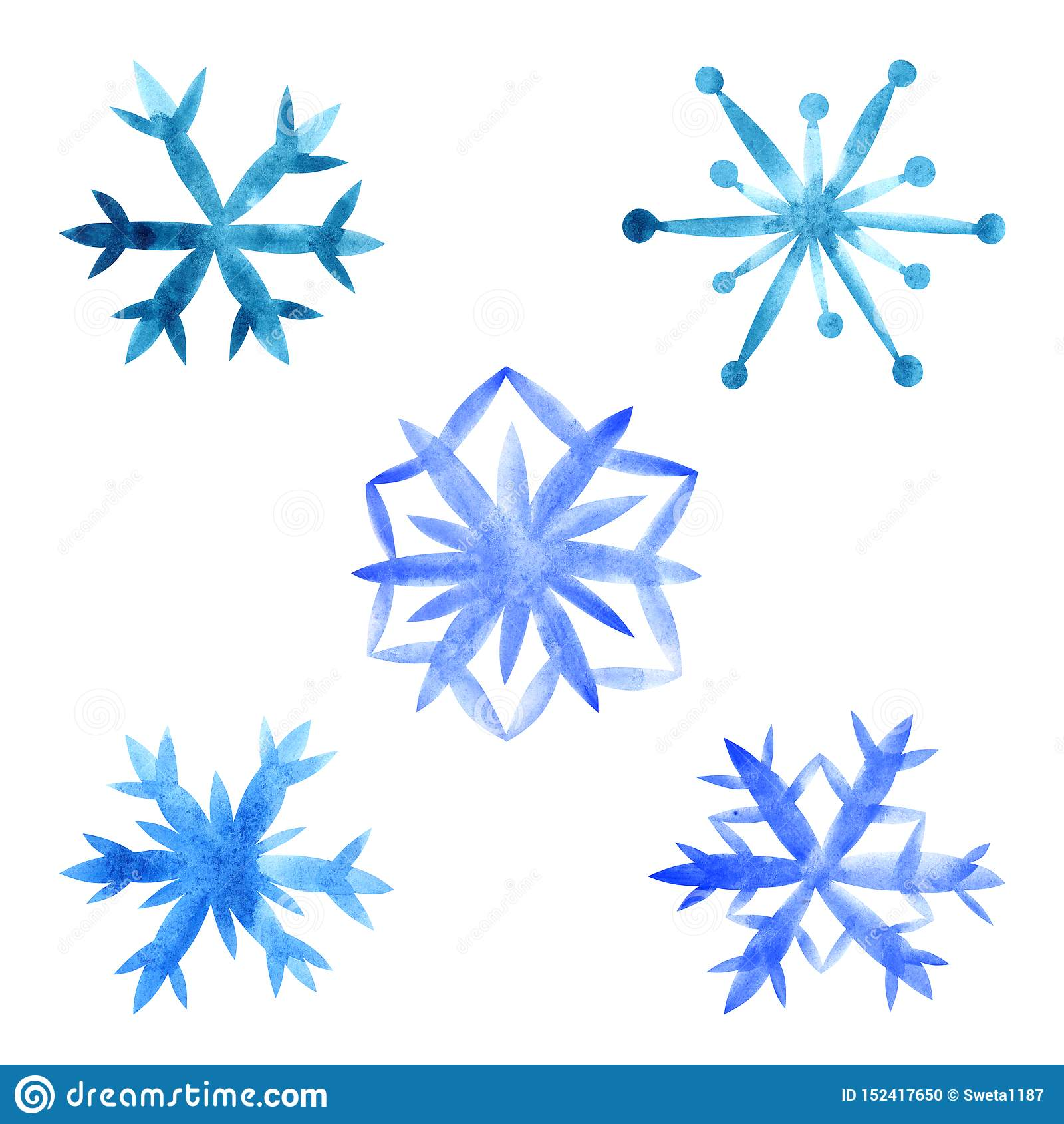 Schneeflocken eingestellt auf einen weißen Hintergrund