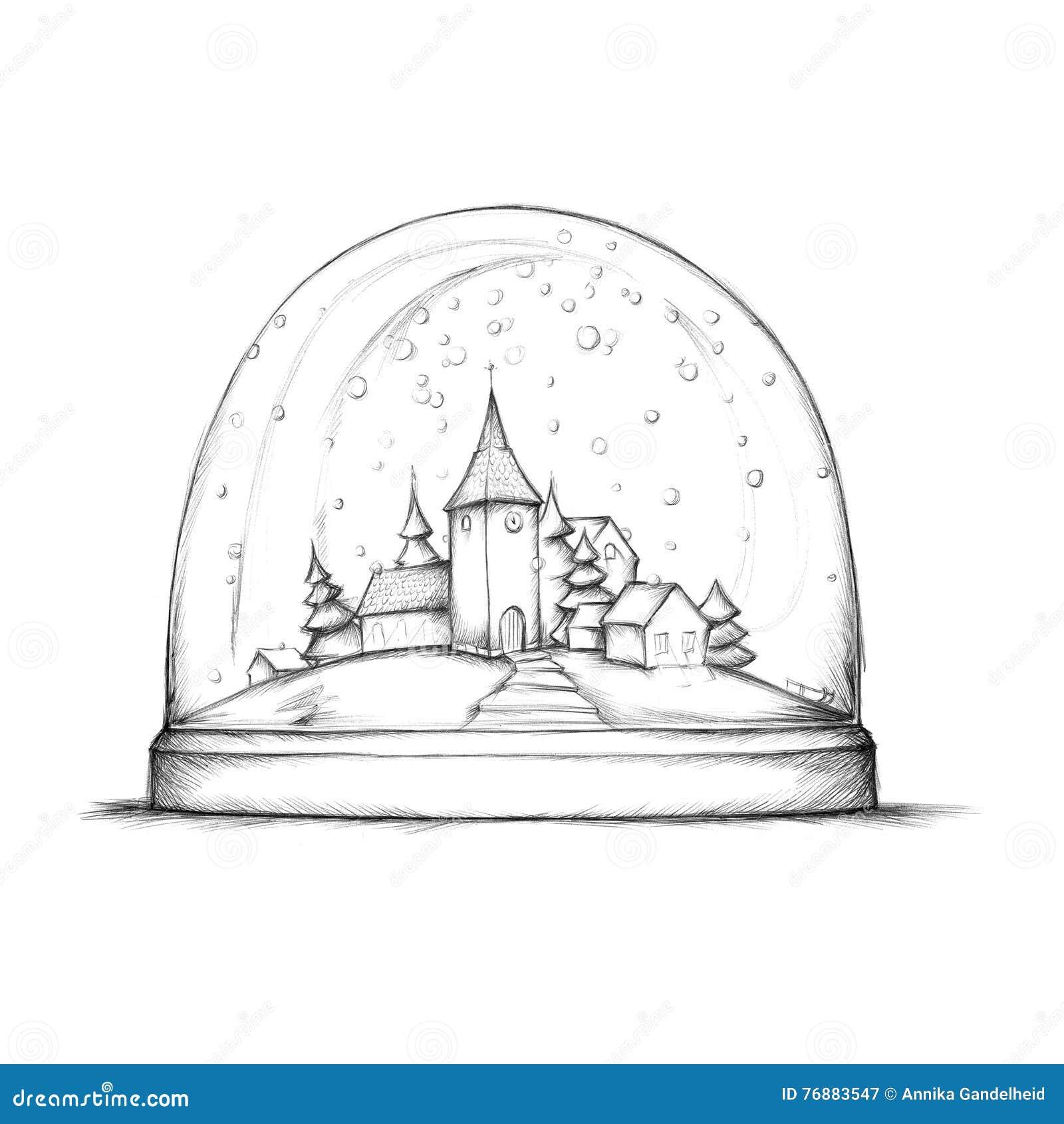 Schneekugel mit kleinem Dorf