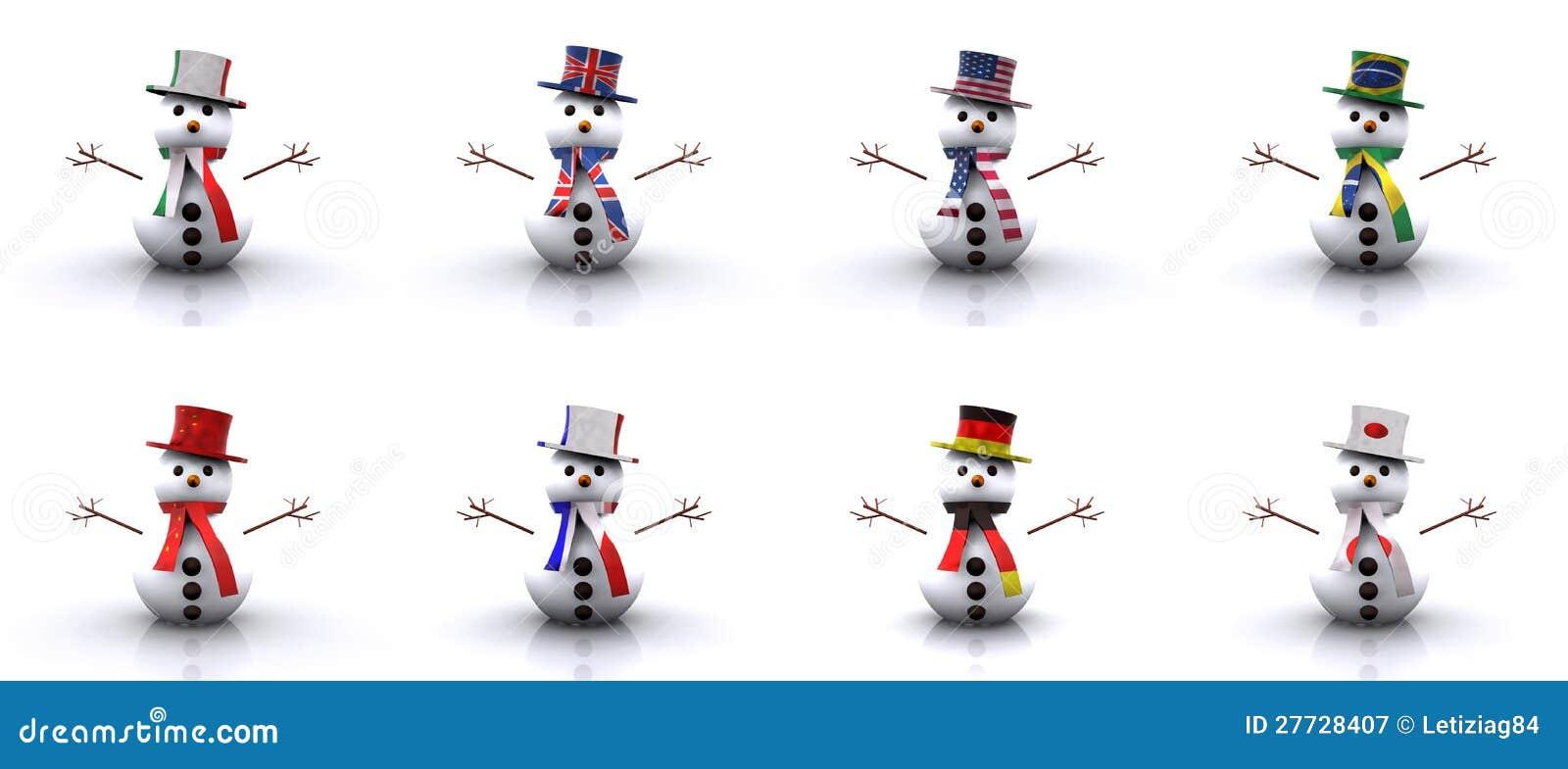 Schneemänner der verschiedenen Länder 3D