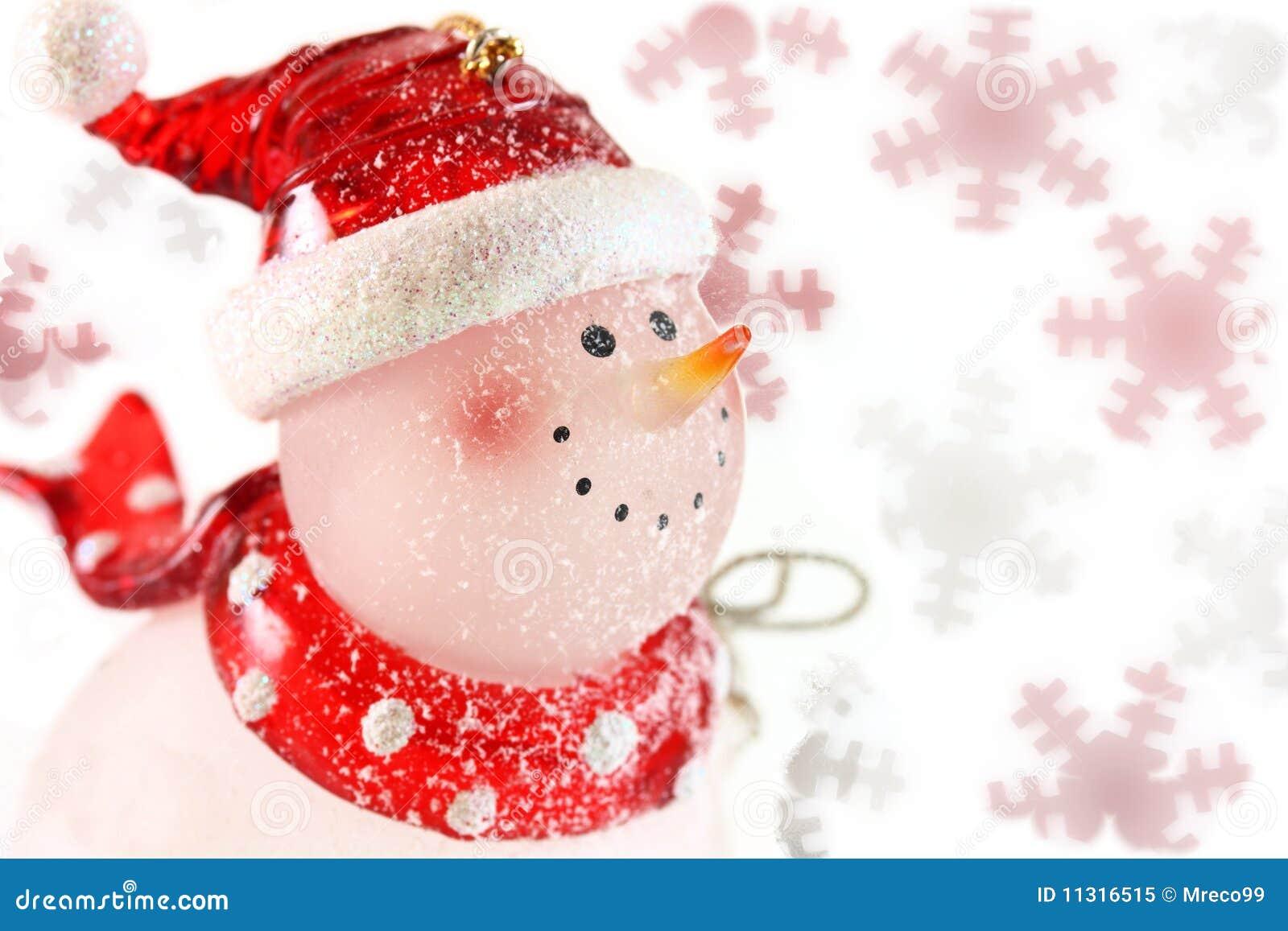 Schneemann auf Schneeflocken
