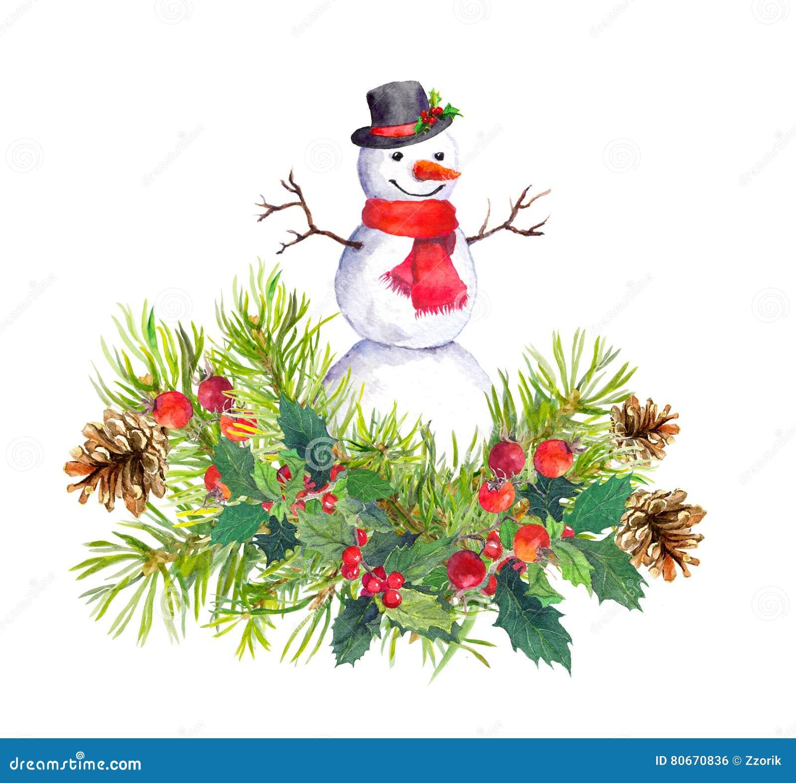 schneemann tannenbaum weihnachtsmistelzweig watercolor stockfoto bild 80670836. Black Bedroom Furniture Sets. Home Design Ideas