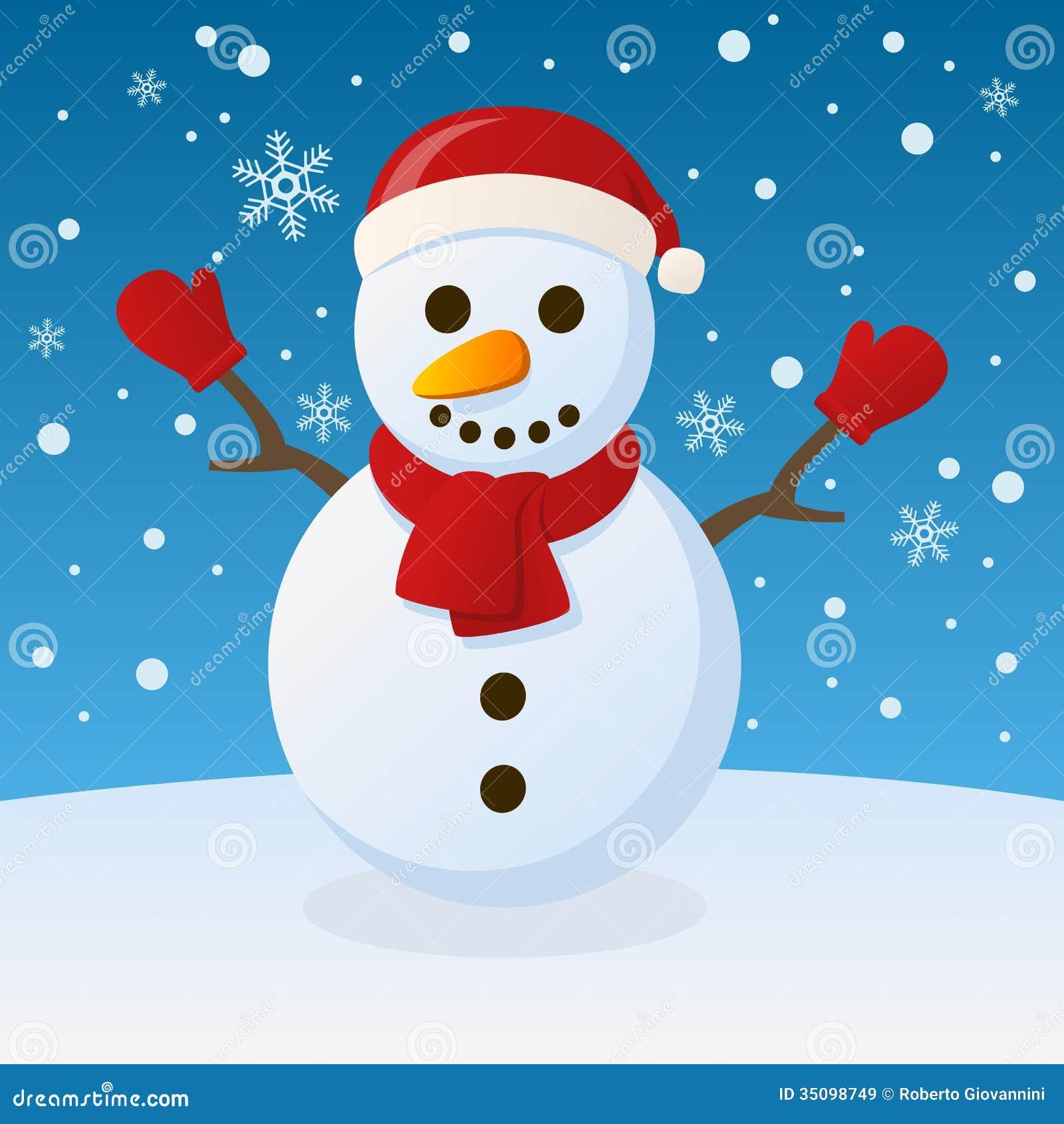 schneemann weihnachten auf dem schnee vektor abbildung. Black Bedroom Furniture Sets. Home Design Ideas