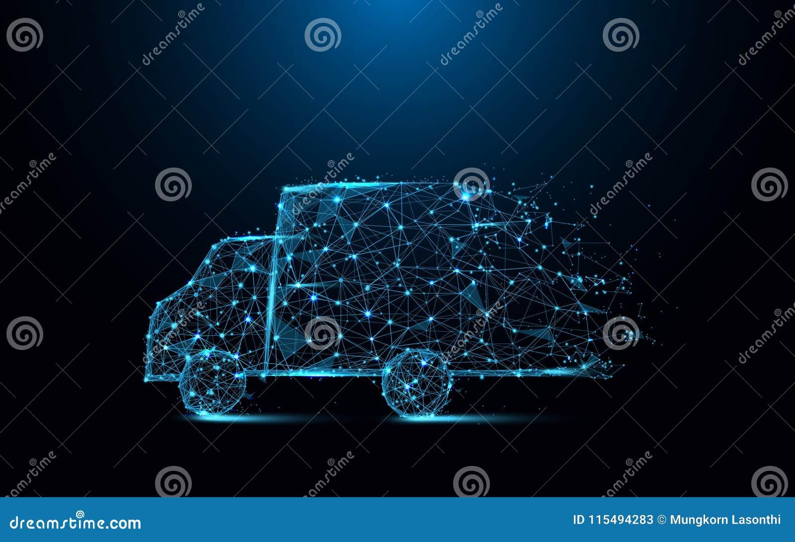 Schnelle Lieferwagenikonen-Formlinien und Dreiecke, Verbindungsnetz des Punktes auf blauem Hintergrund