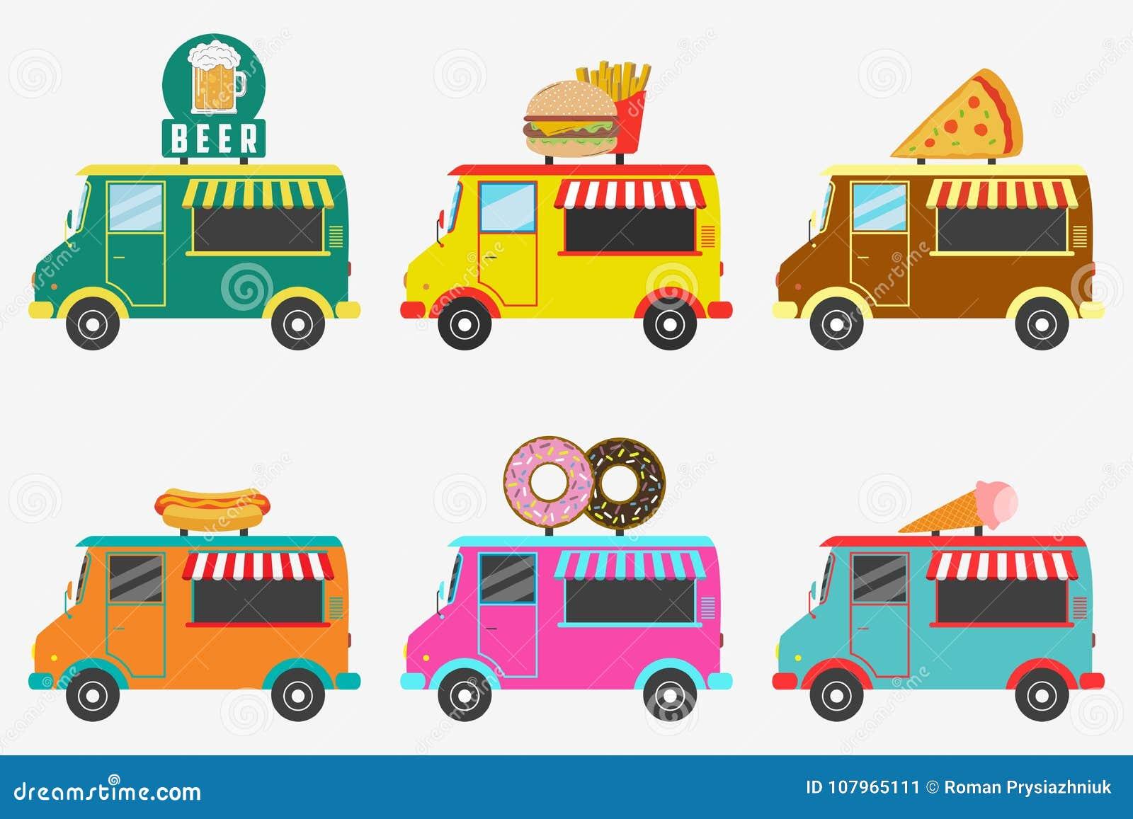 Schnellimbiss-LKWs Satz der Straße kauft auf Packwagen - Bier, Donut, Burger und Pommes-Frites, Hotdog, Eiscreme, Pizza Vektor
