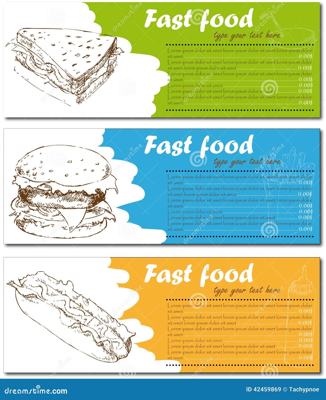 Schnellimbissmenükarten mit Burger, Hotdog und