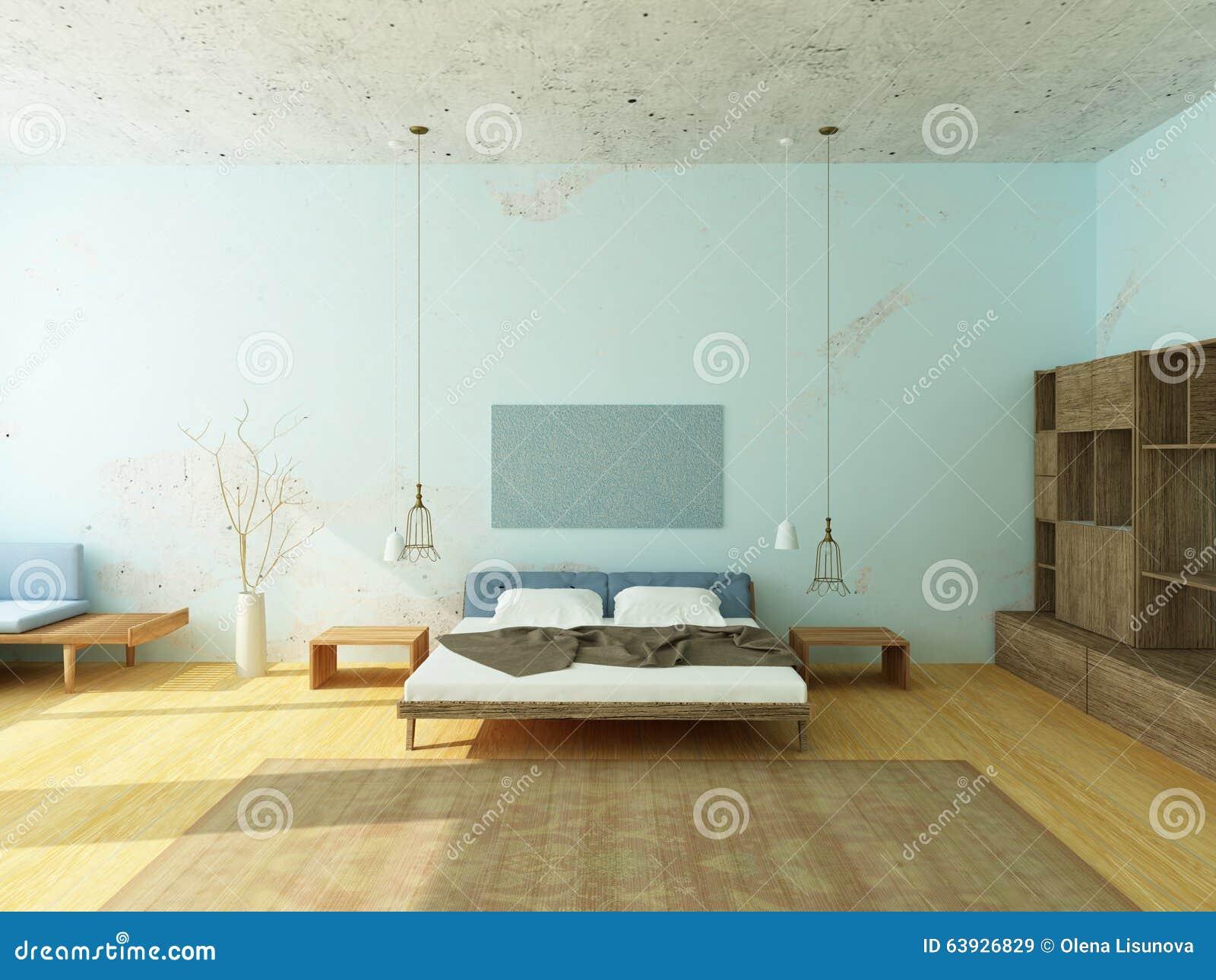 Schönes gemütliches schlafzimmer in den blauen farben stock ...